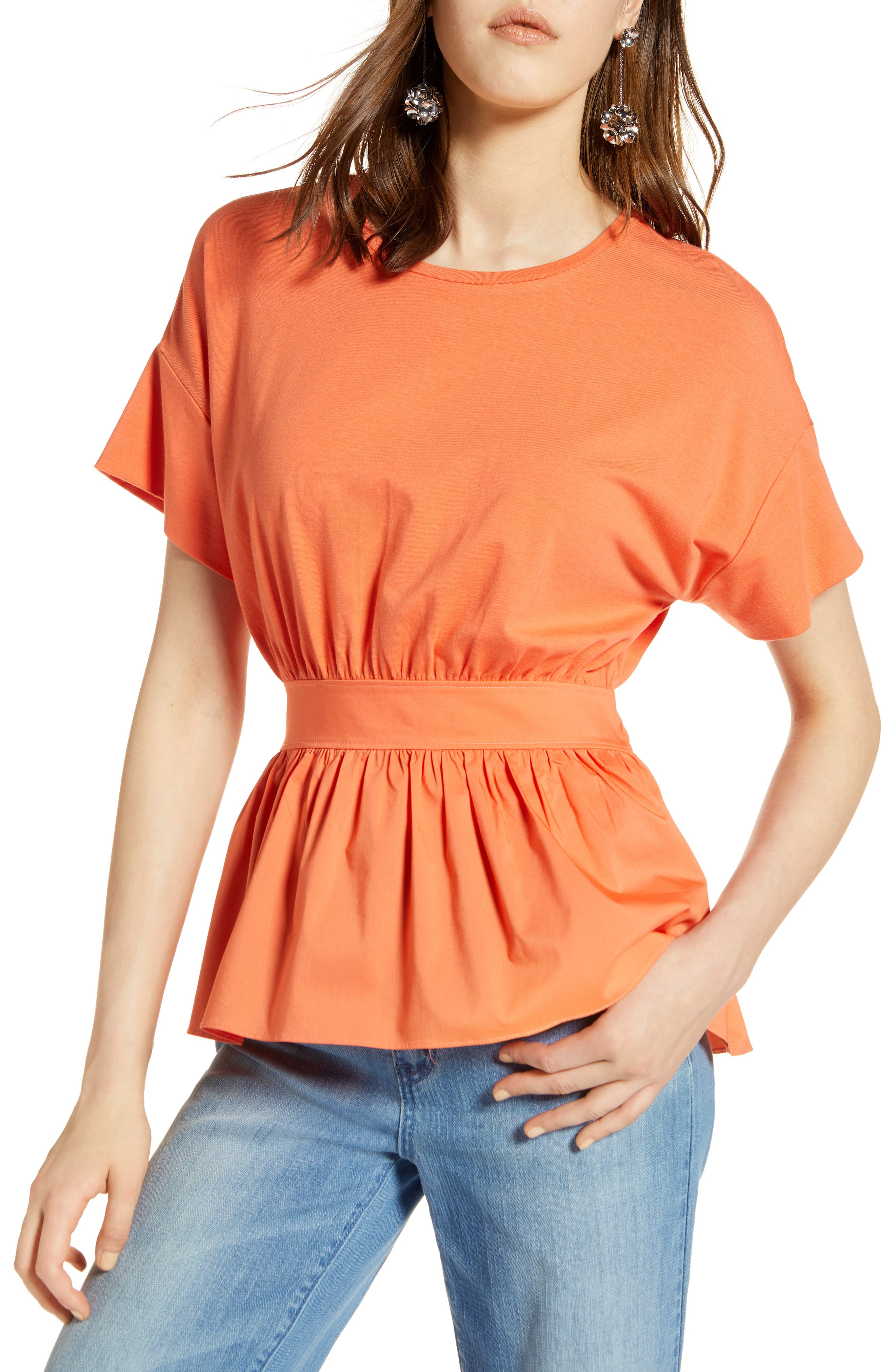 Gathered Waist Top,                         Main,                         color, Coral Ocean