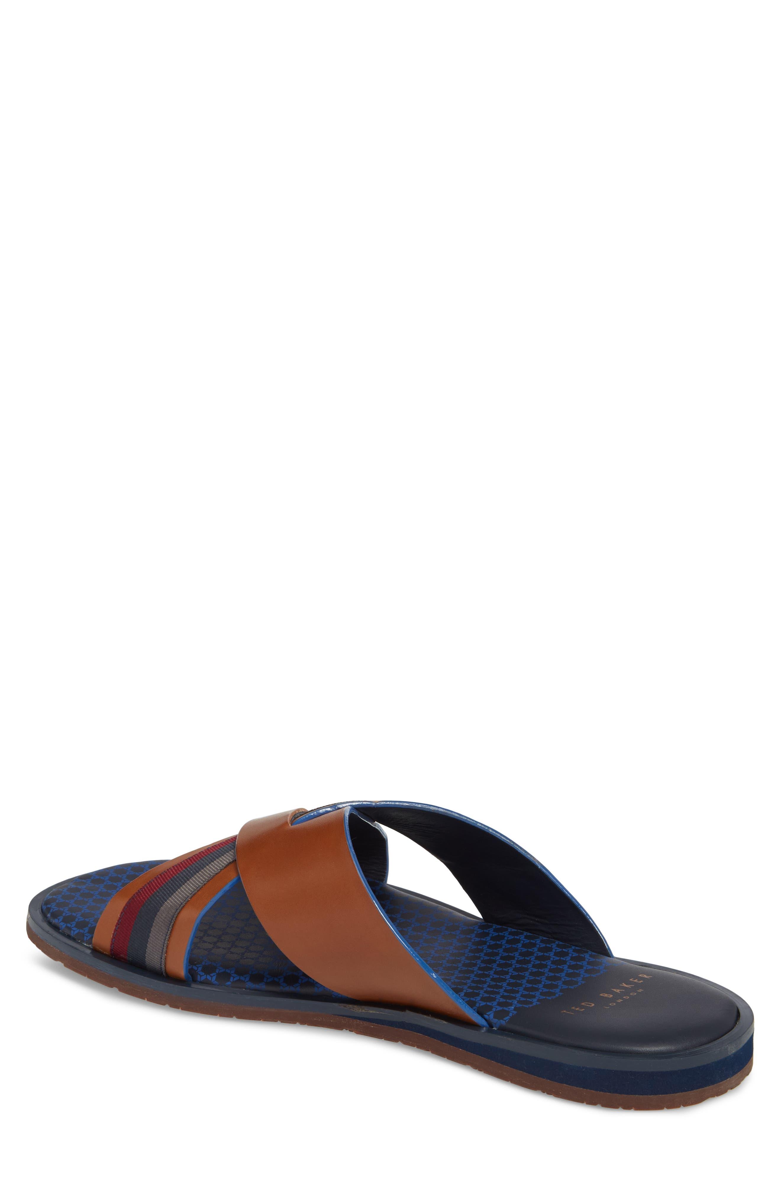 Farrull Cross Strap Slide Sandal,                             Alternate thumbnail 2, color,                             Tan Leather/ Textile