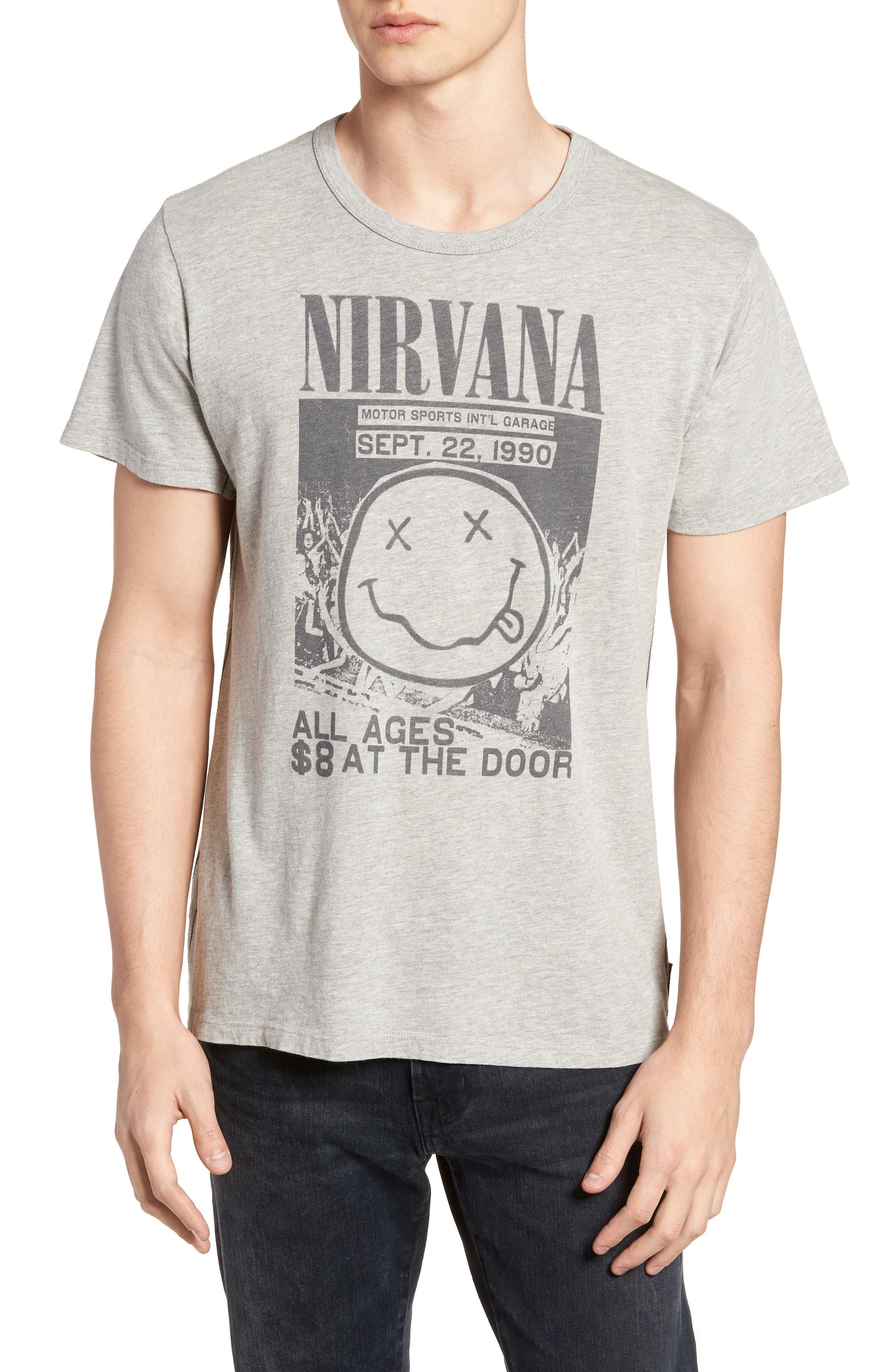 Live Nation Graphic Nirvana Classic T-Shirt,                             Main thumbnail 1, color,                             Heather Grey