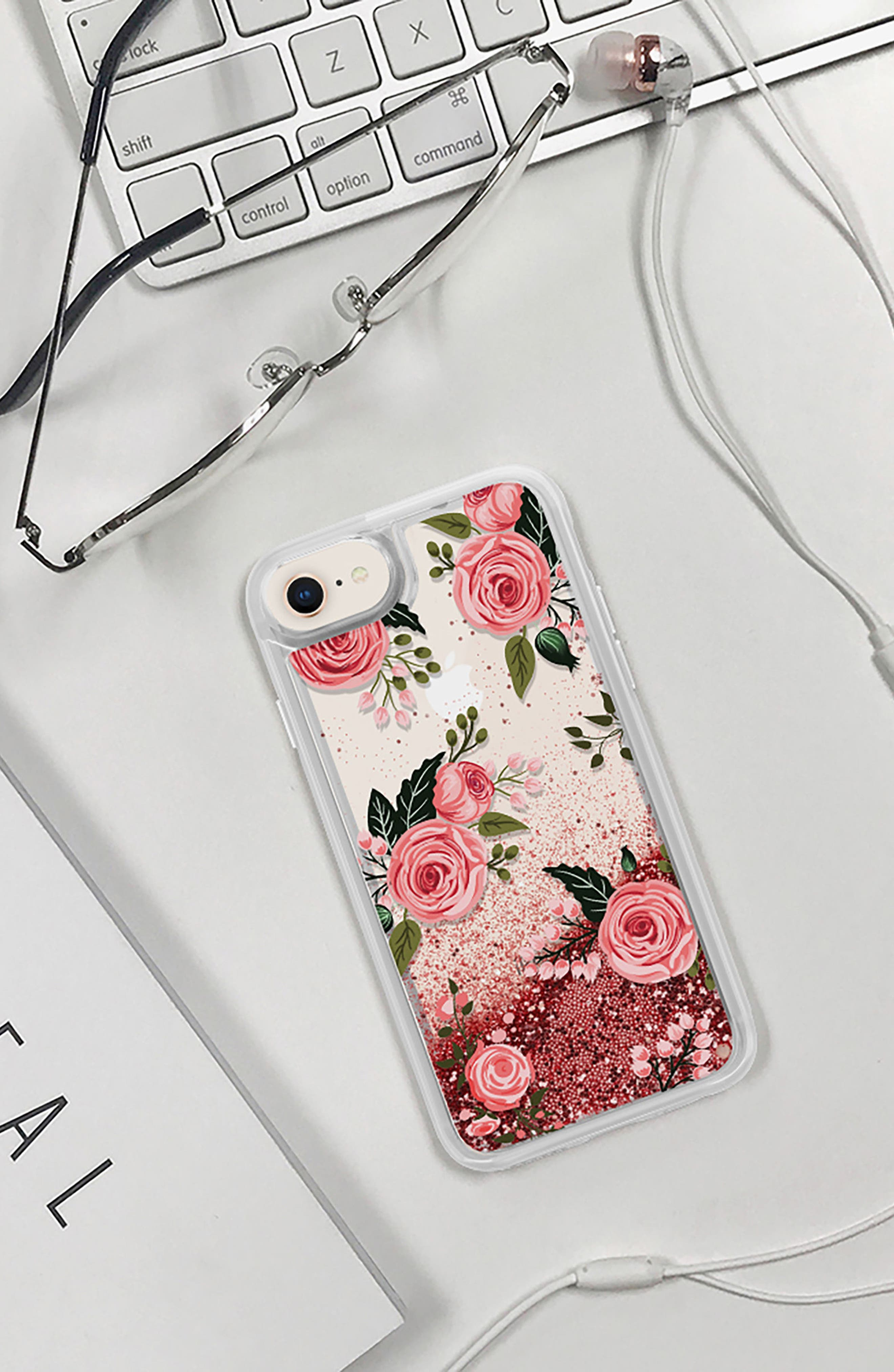 Pink Glitter Flowers iPhone 7/8 & 7/8 Plus Case,                             Alternate thumbnail 6, color,