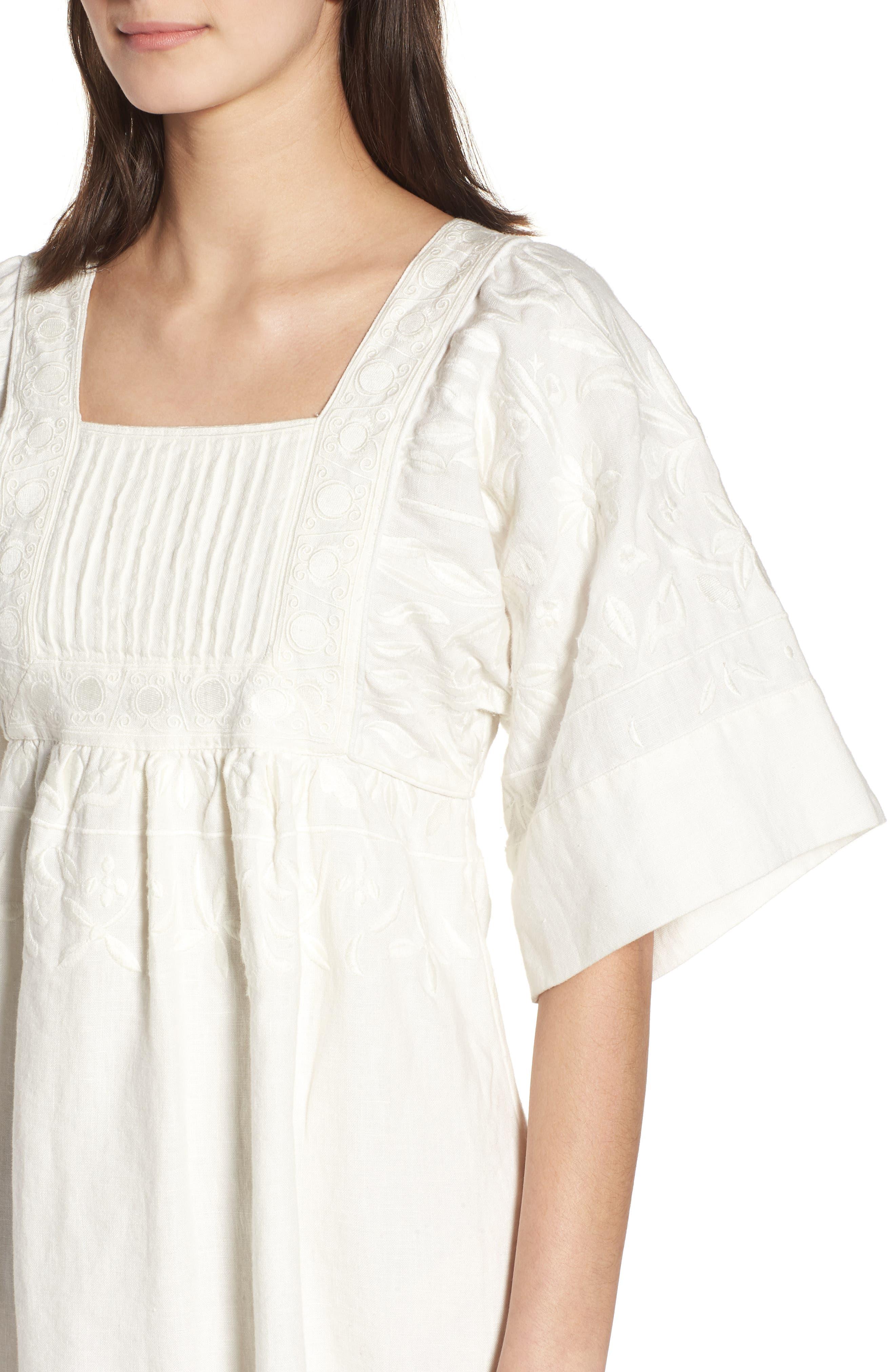 Elisa Embroidered Babydoll Dress,                             Alternate thumbnail 4, color,                             White