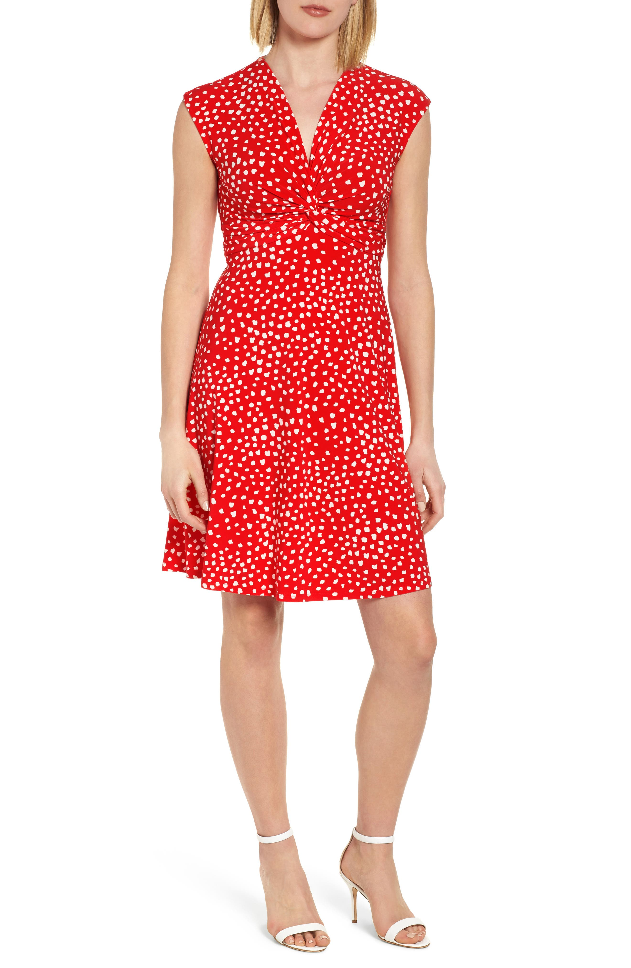 New York Ceylon Twist Fit and Flare Dress,                         Main,                         color, Tomato/ Parchment Combo