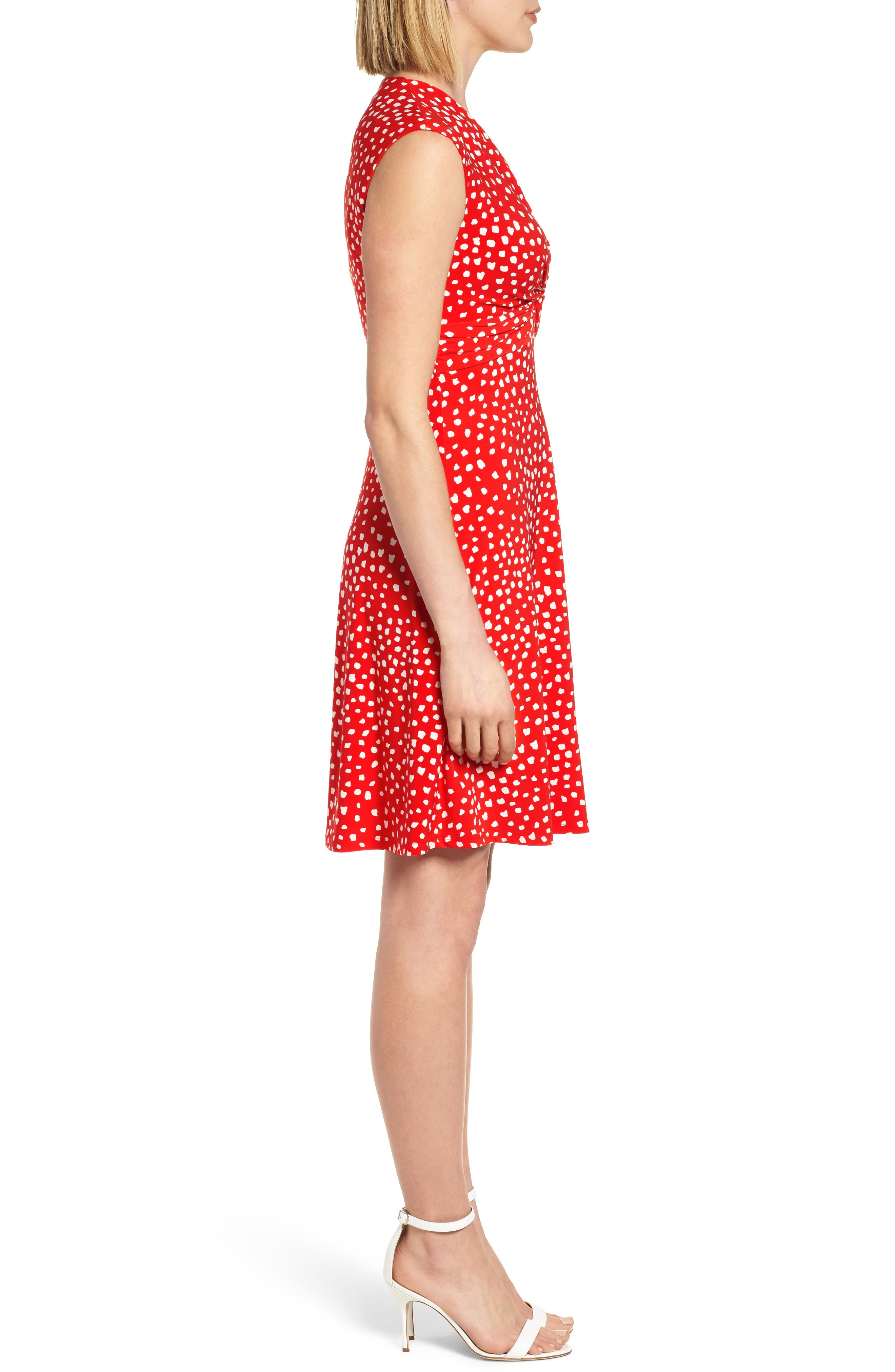 Ceylon Twist Fit and Flare Dress,                             Alternate thumbnail 3, color,                             Tomato/ Parchment Combo