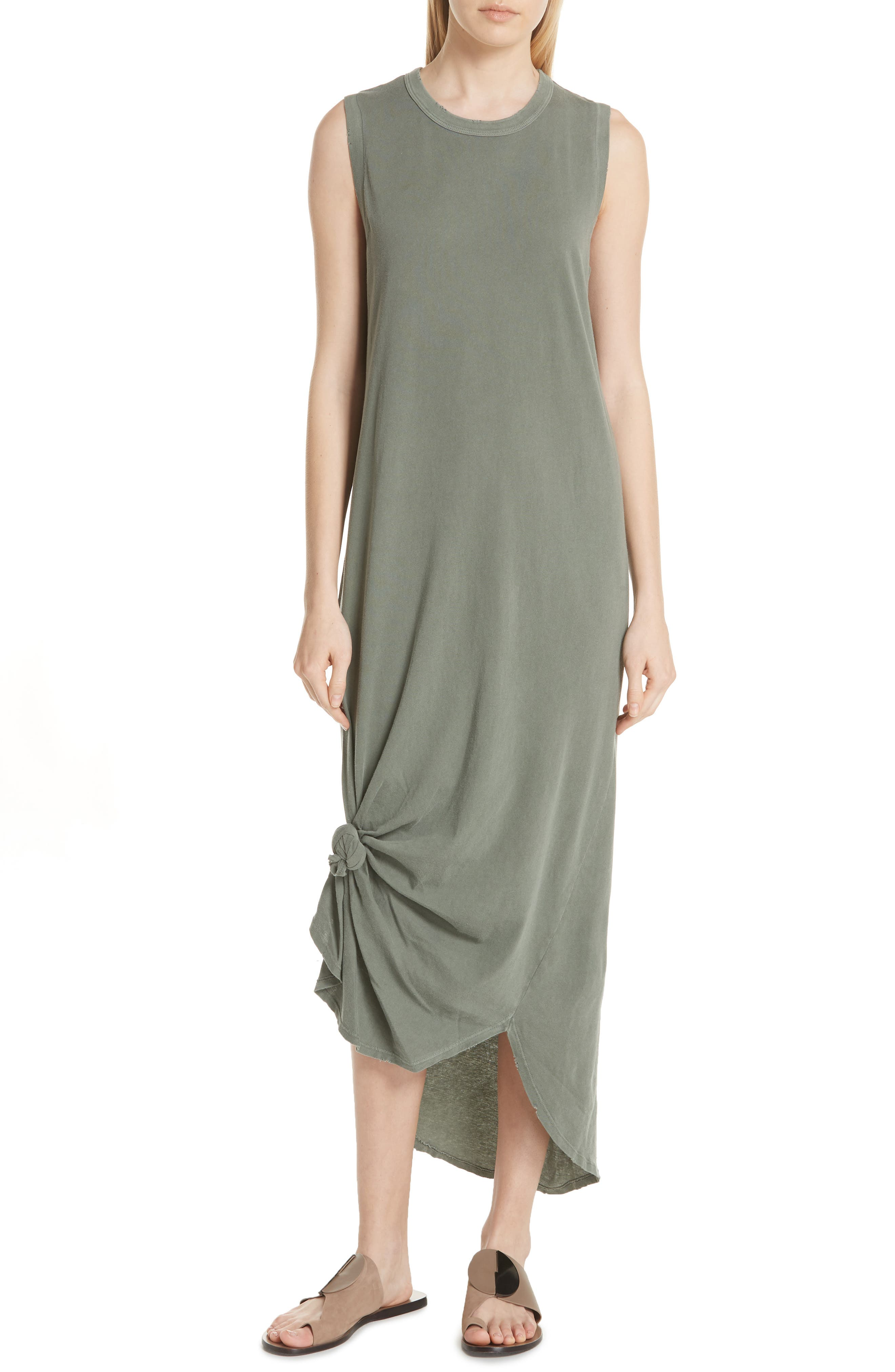 THE GREAT. Knotted Muscle Tank Dress
