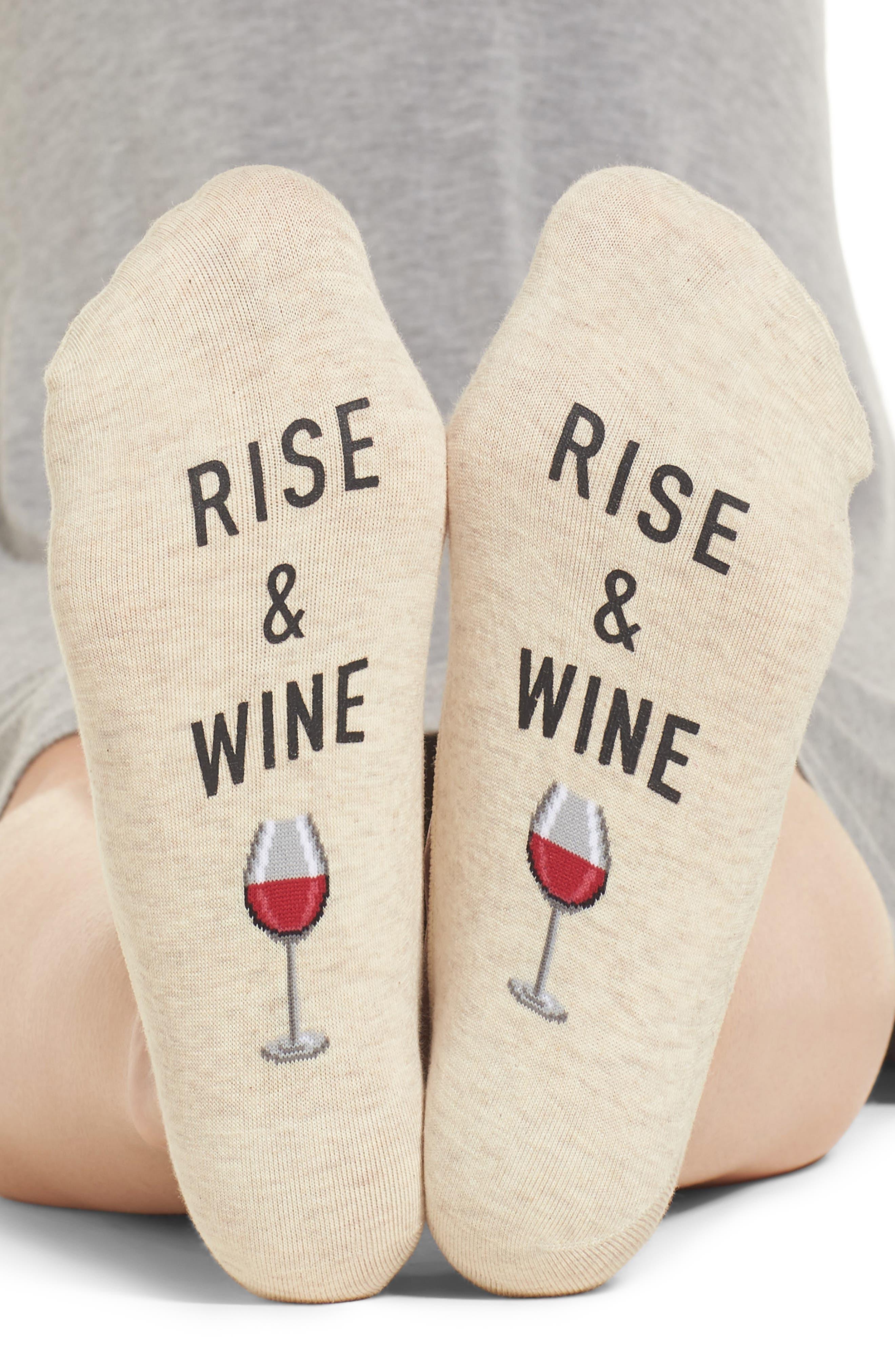 Rise & Wine No-Show Socks,                             Alternate thumbnail 3, color,                             Natural Melange