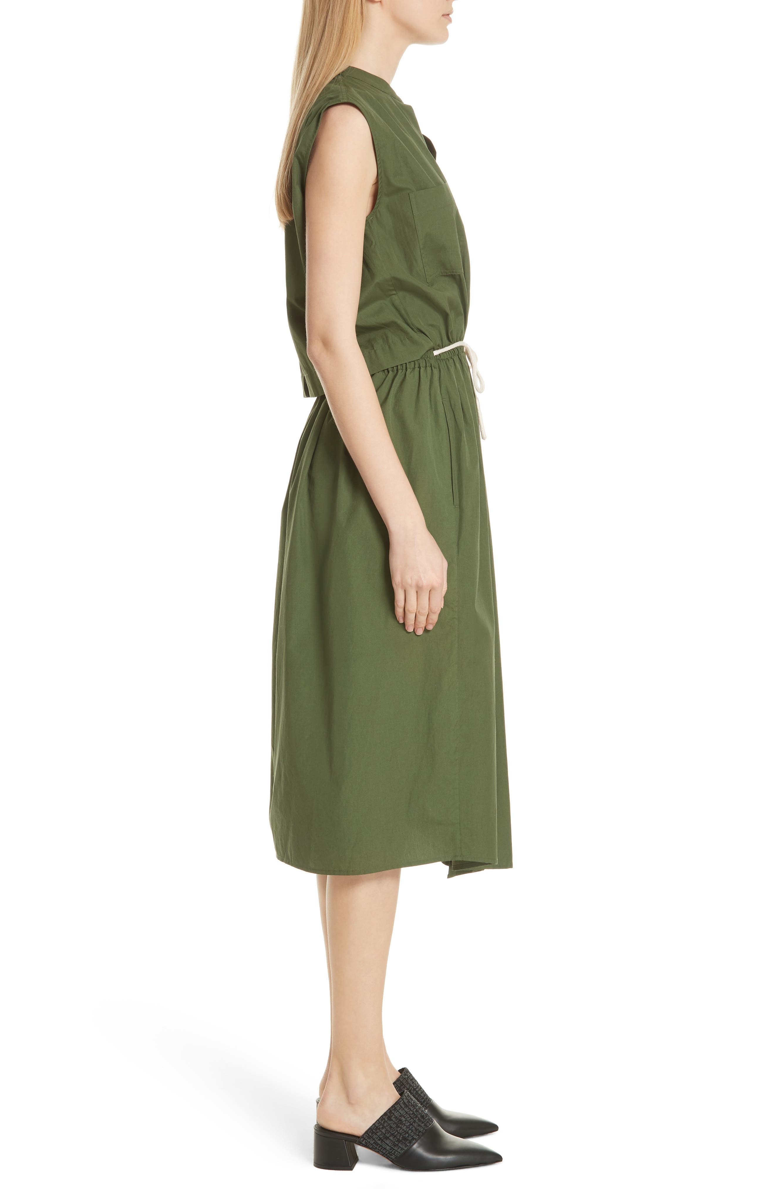 Back Cutout Cotton Utility Dress,                             Alternate thumbnail 3, color,                             Cedar