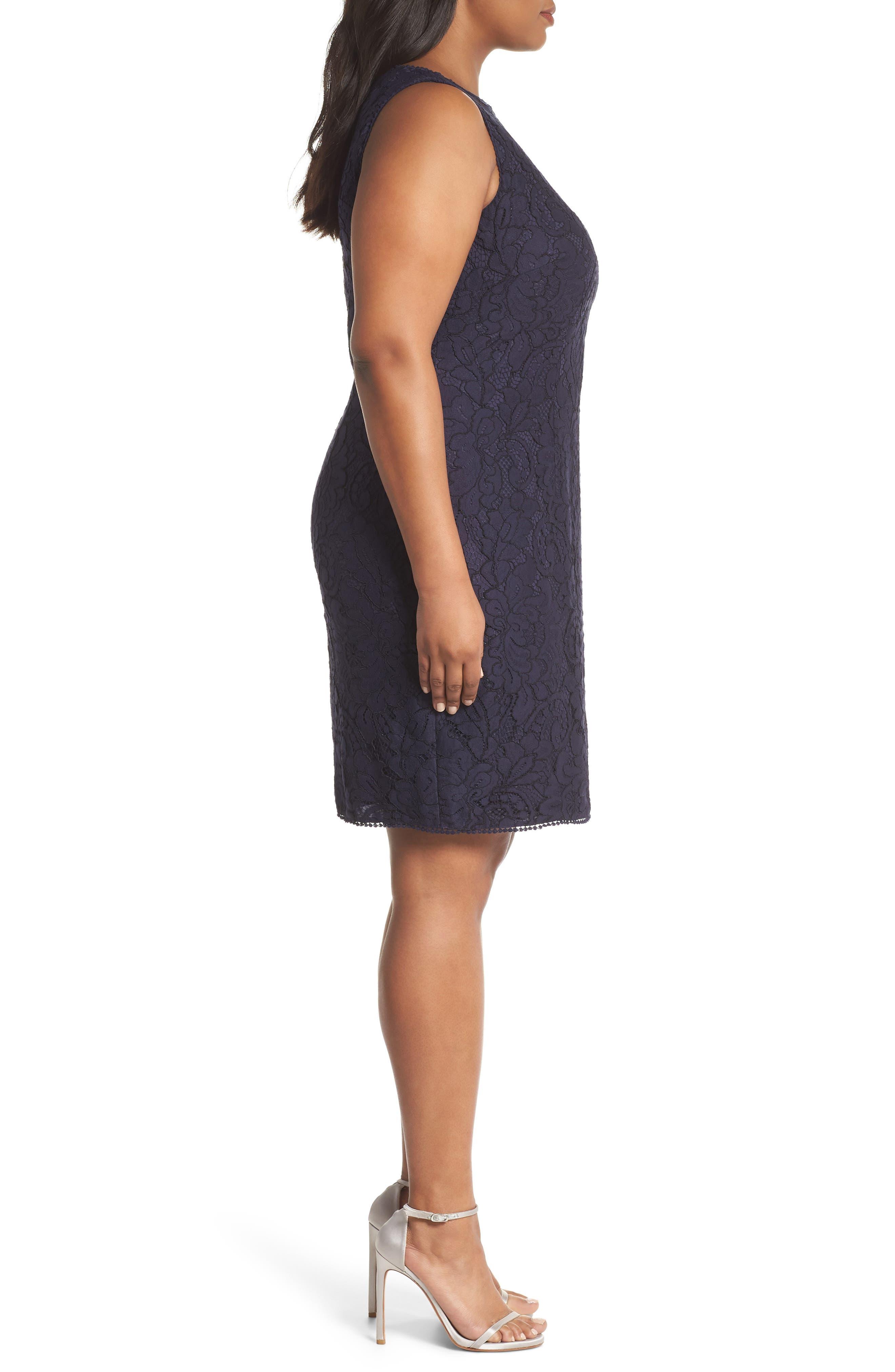Lace Sheath Dress,                             Alternate thumbnail 3, color,                             Navy