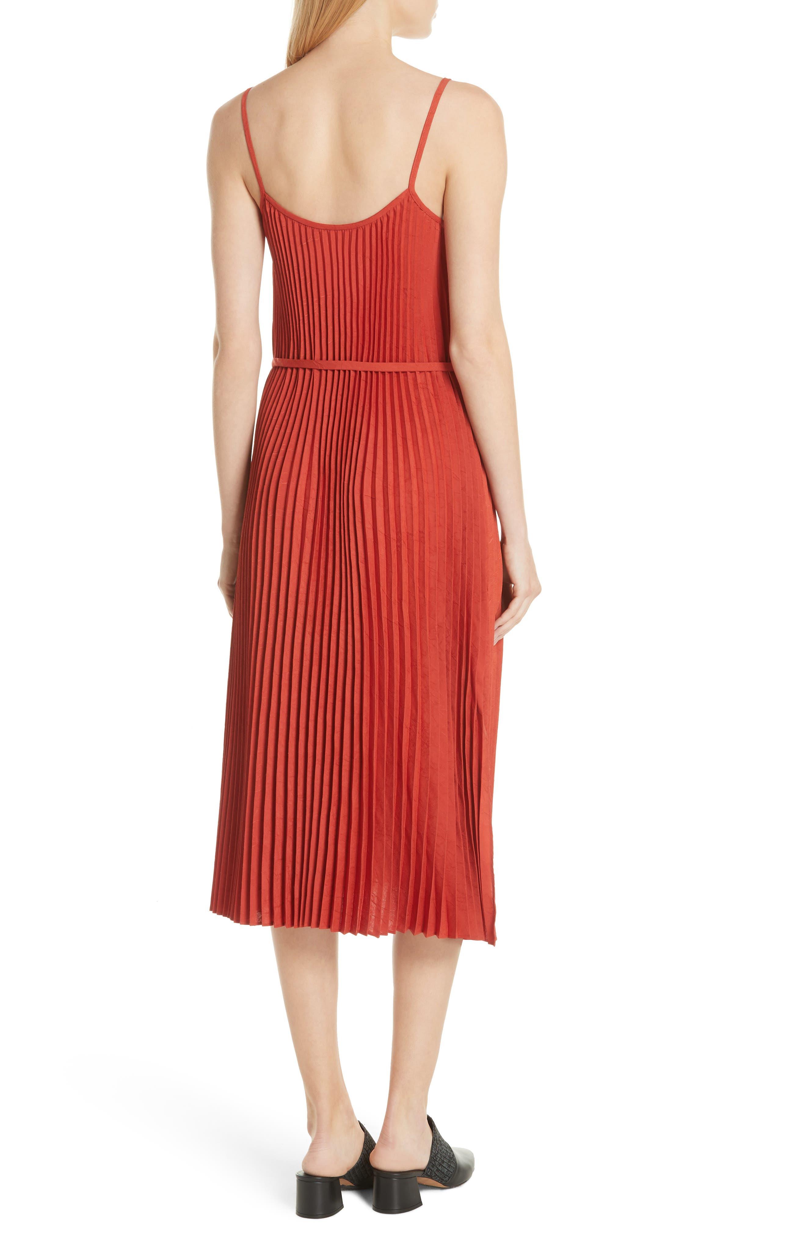 Pleated Cami Dress,                             Alternate thumbnail 2, color,                             Paprika