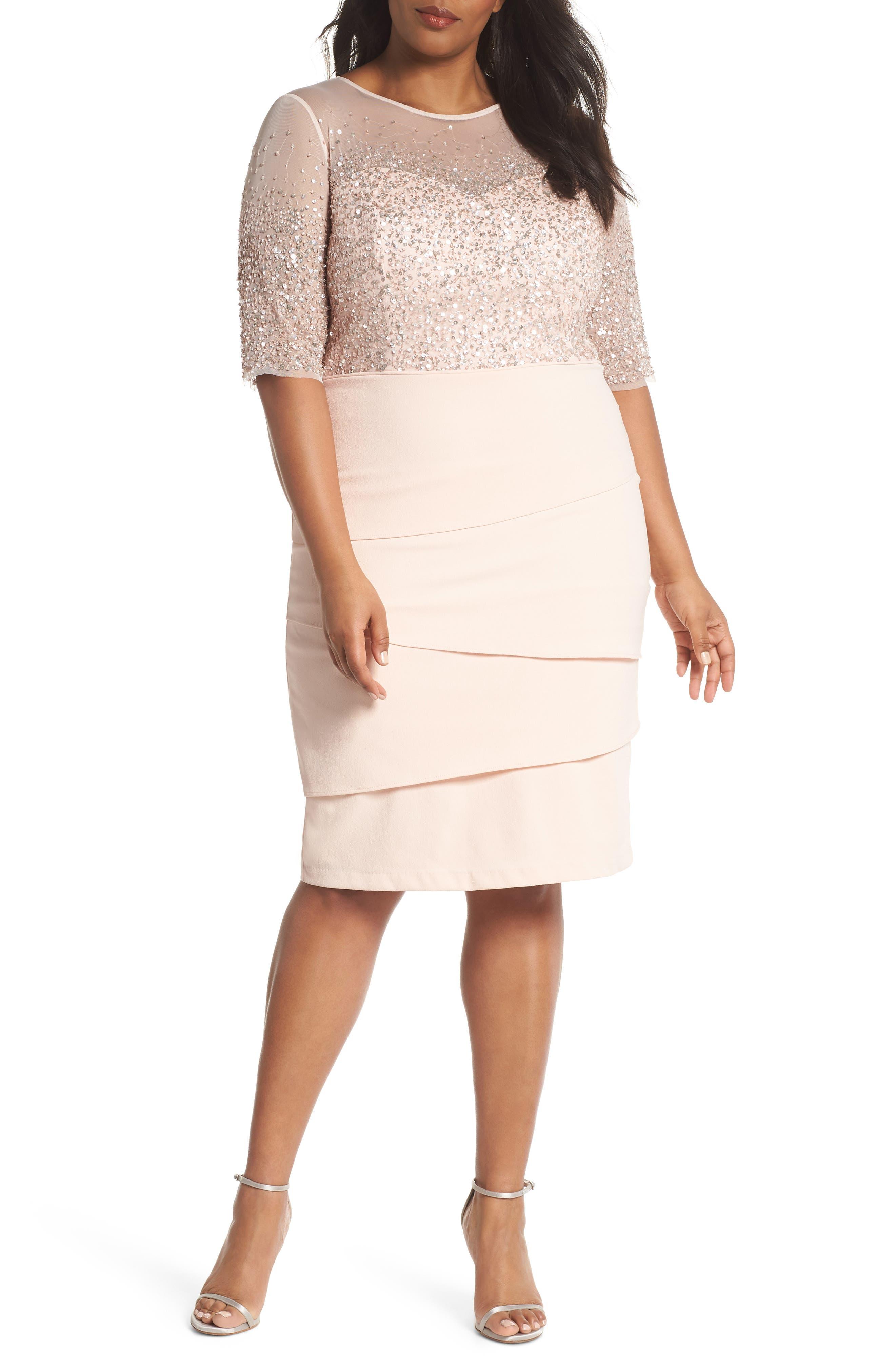 Adrianna Papell Beaded Bodice Sheath Dress (Plus Size)