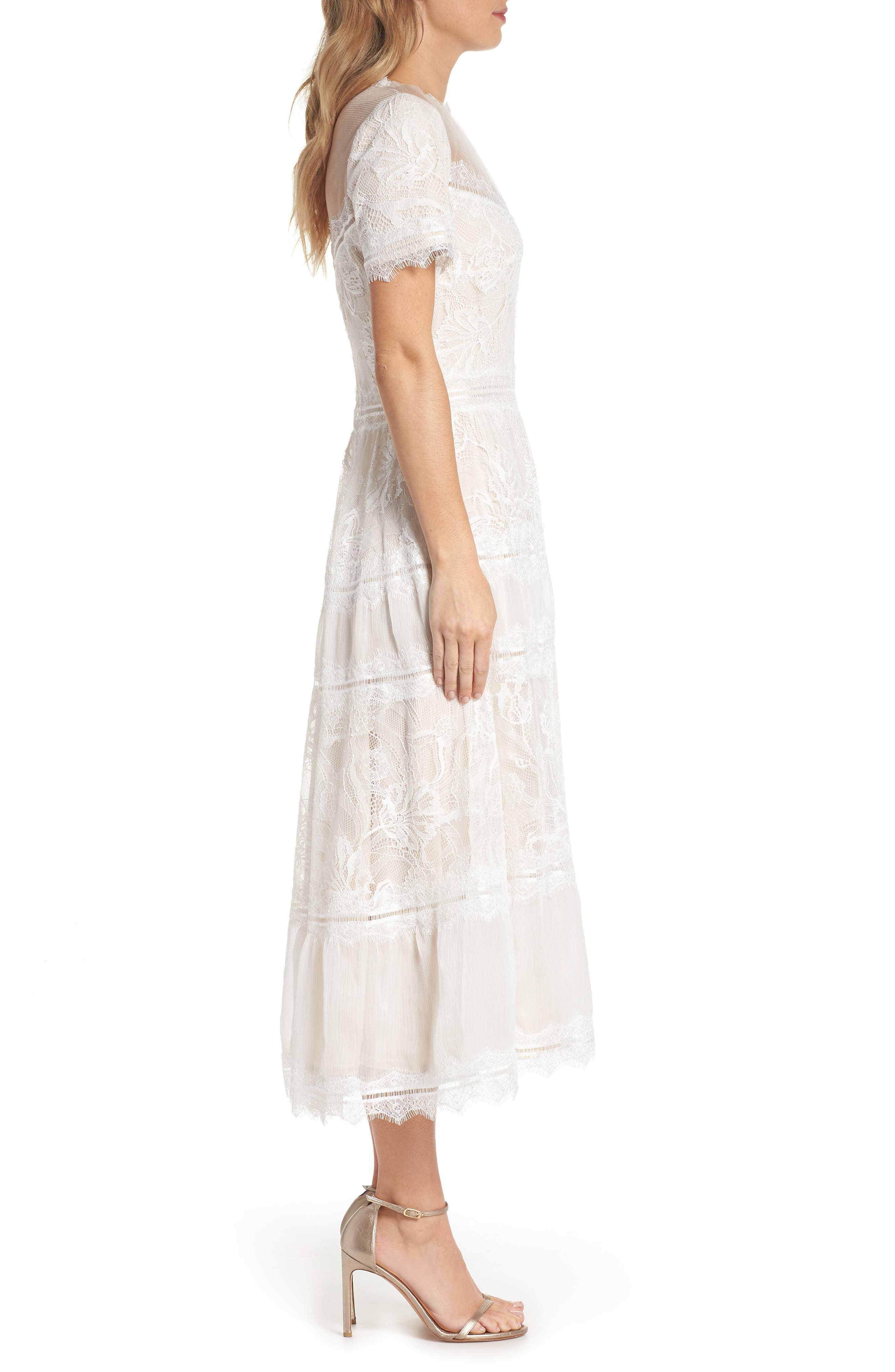 Lace Tea-Length Dress,                             Alternate thumbnail 3, color,                             Ivory/ Petal