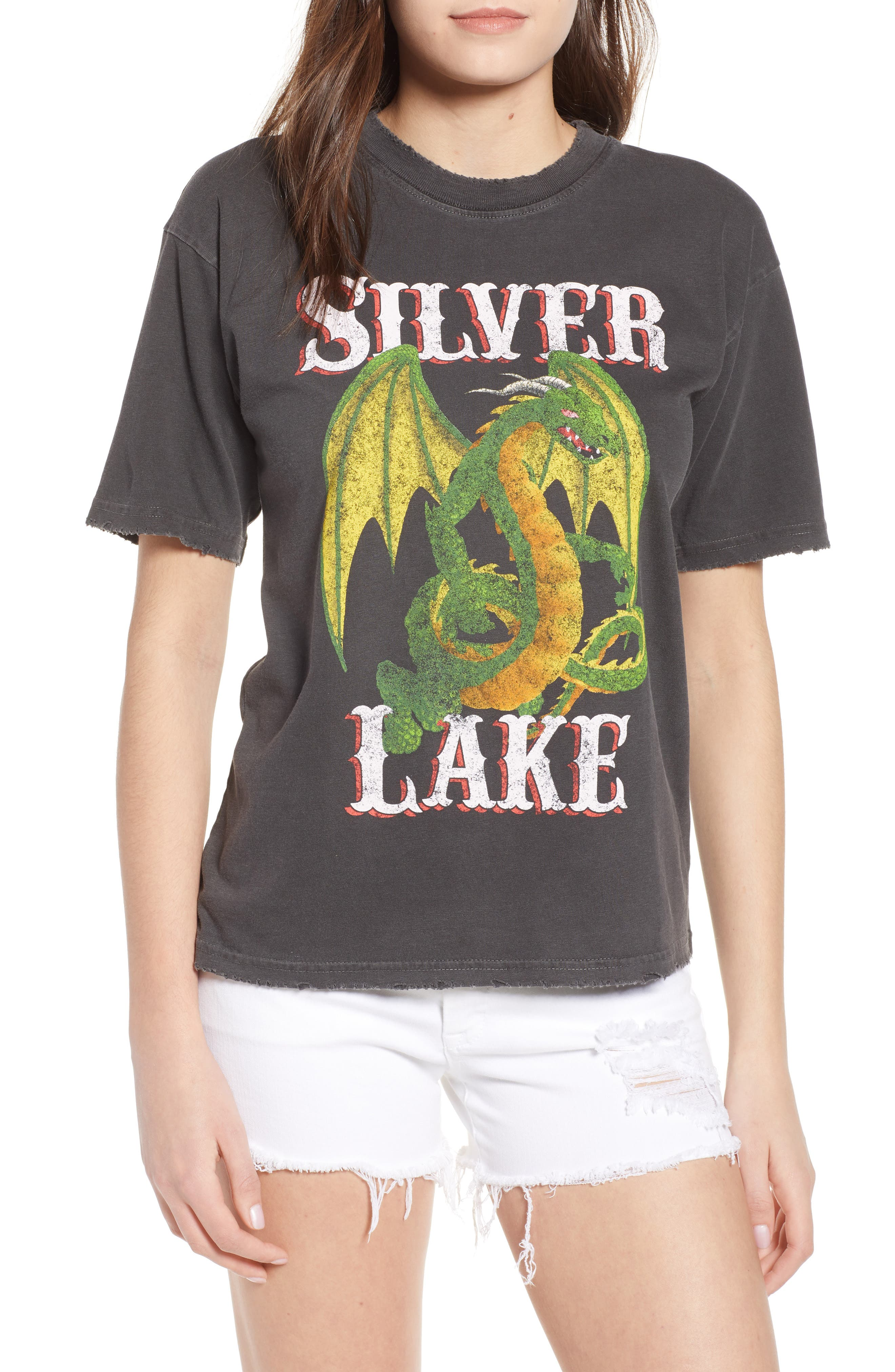 Dragon Graphic Tee,                         Main,                         color, Washed Black