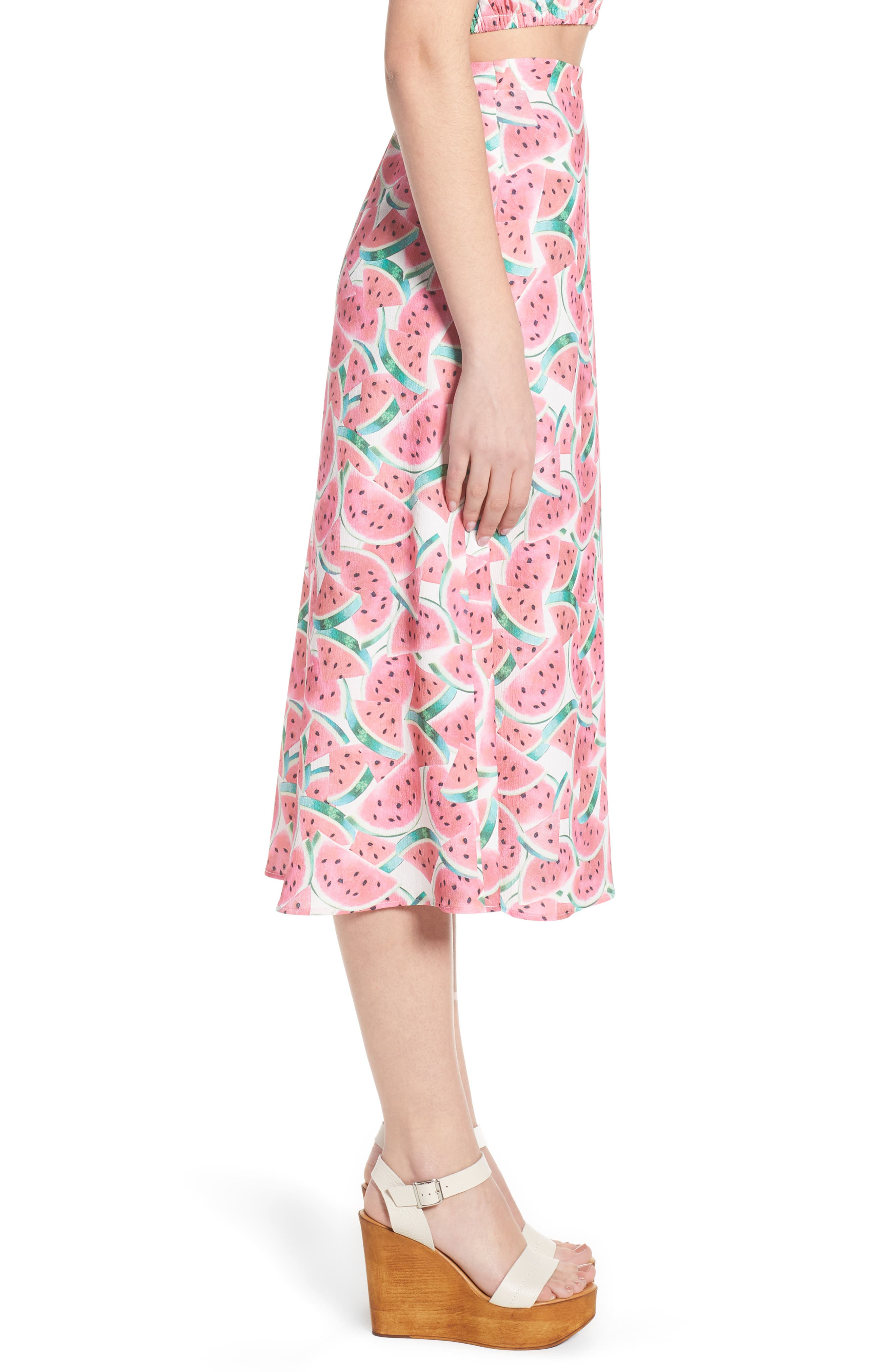 Flirt Midi Skirt,                             Alternate thumbnail 7, color,                             One In A Melon Crinkle Stretch