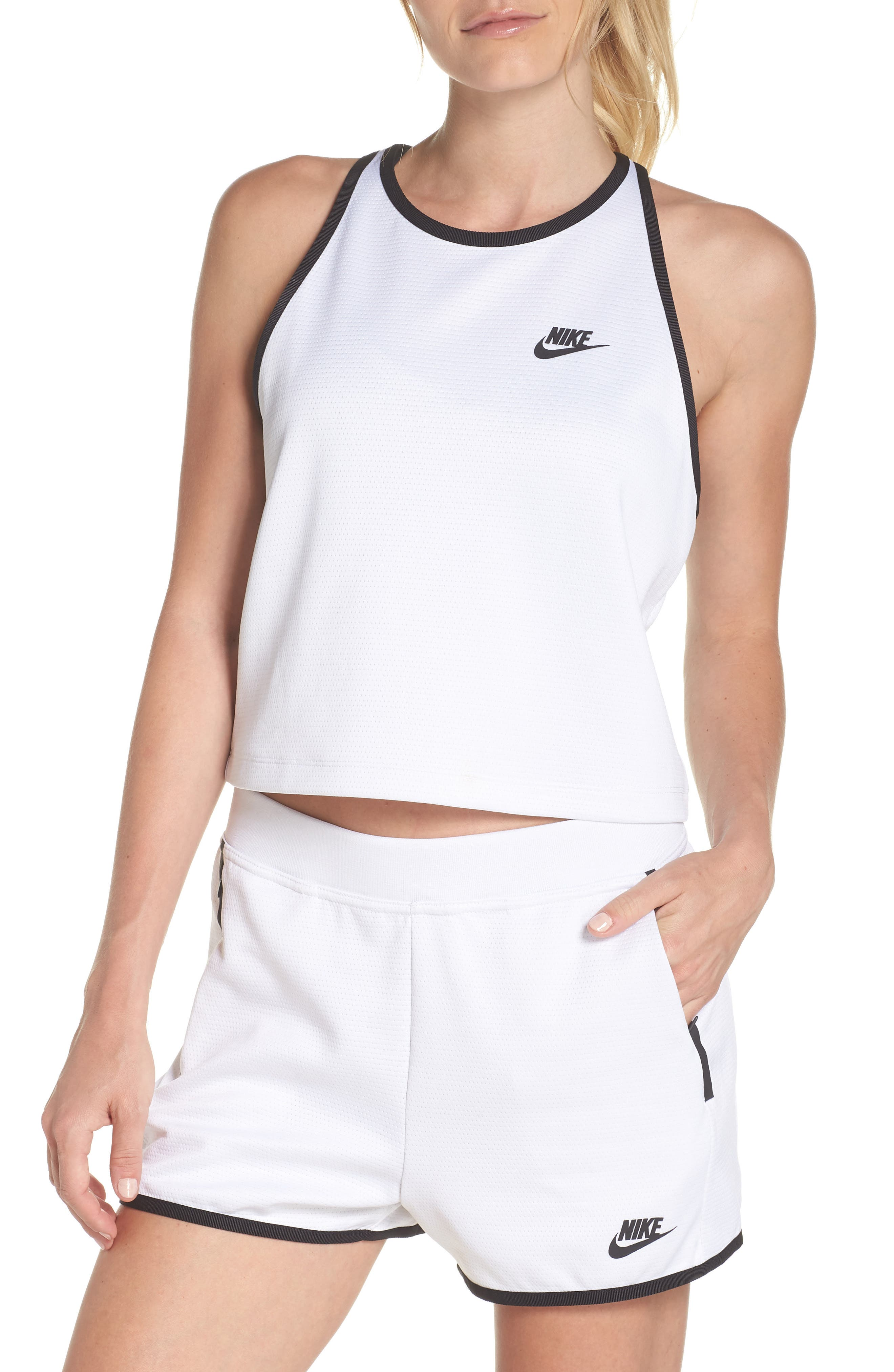 Sportswear Teched Out Tank,                         Main,                         color, White/ Black