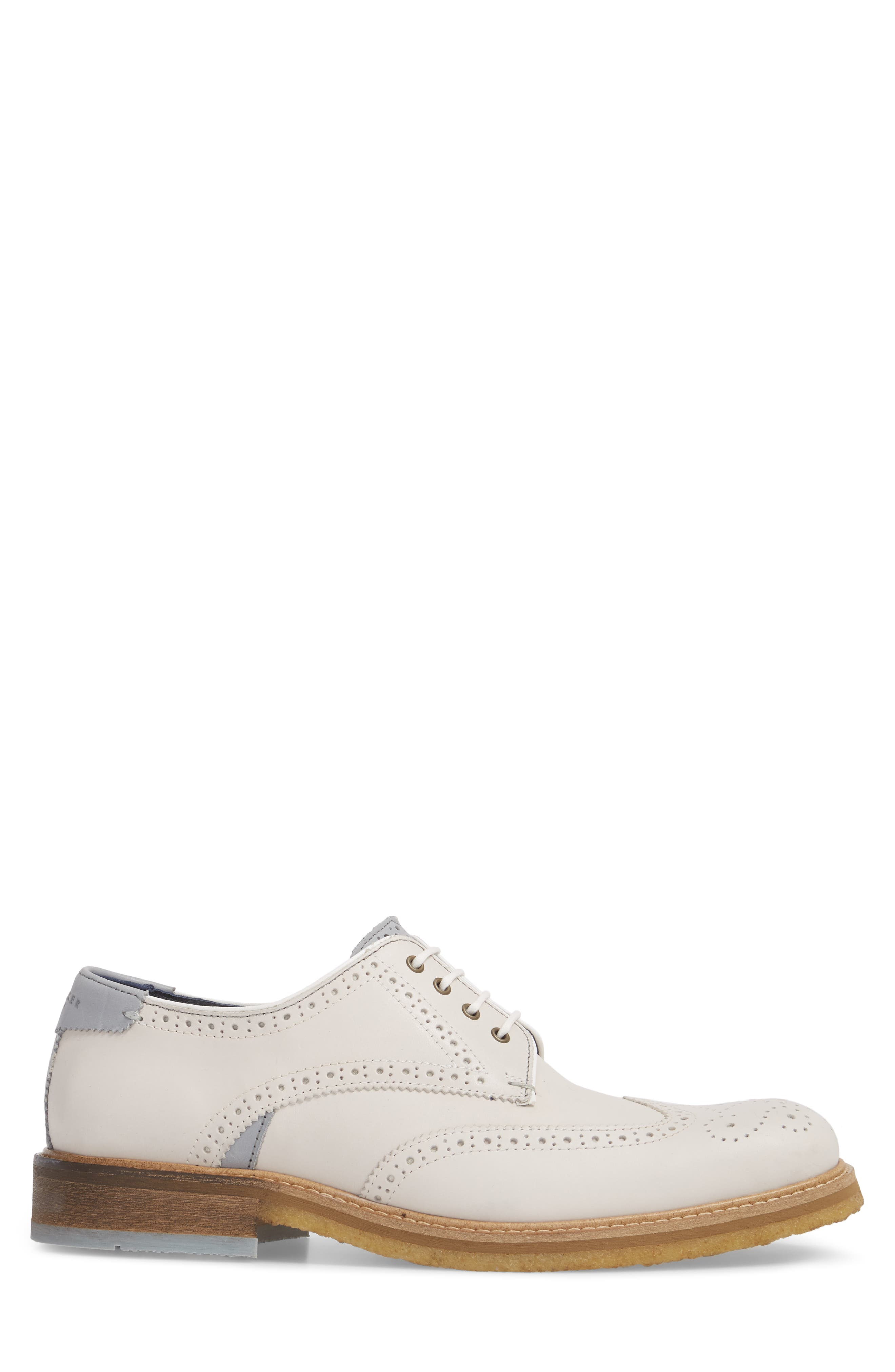 Prycce Wingtip Derby,                             Alternate thumbnail 3, color,                             White Suede