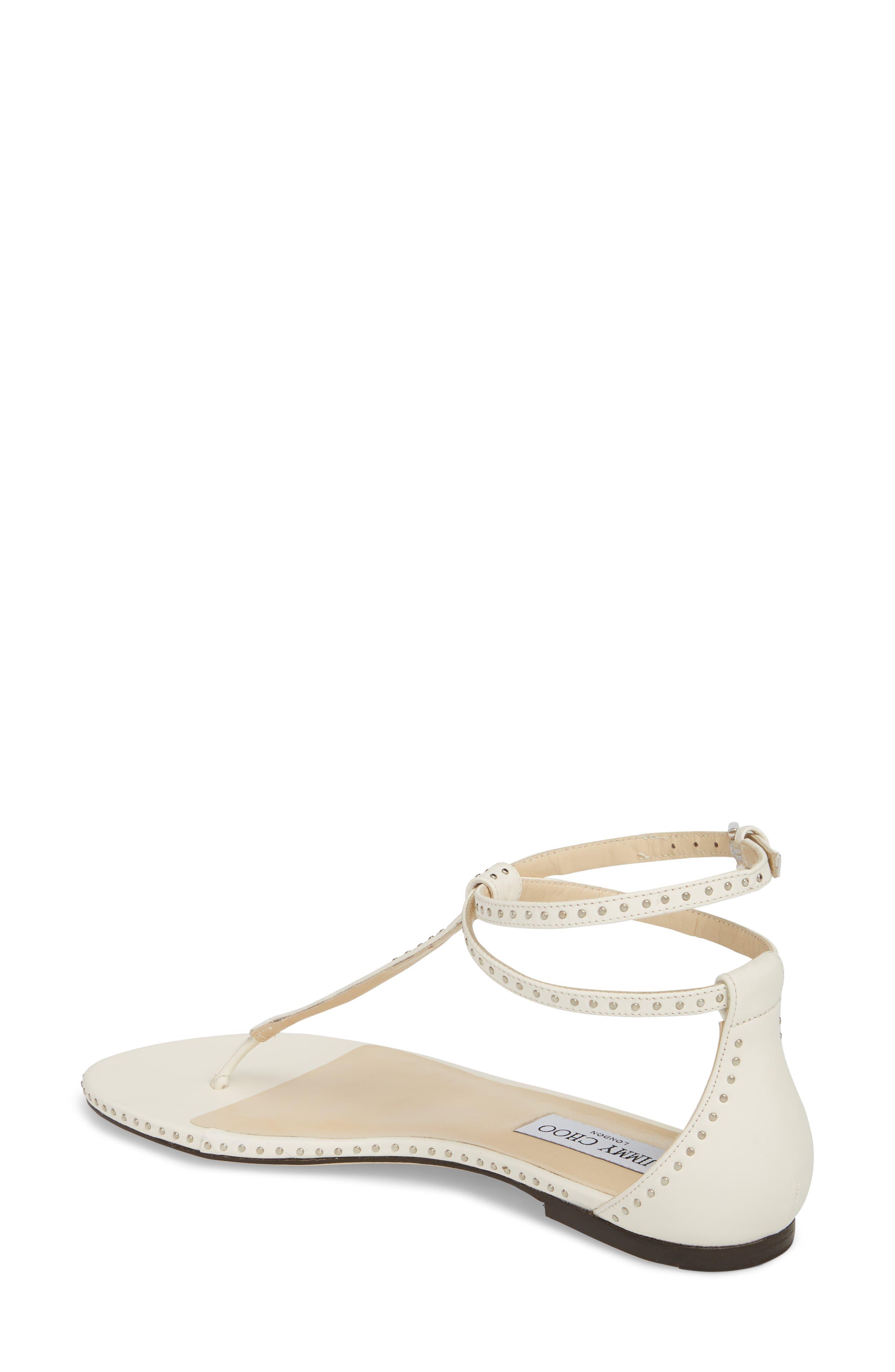 Afia Studded Leather Sandals - White Jimmy Choo London II8Xd