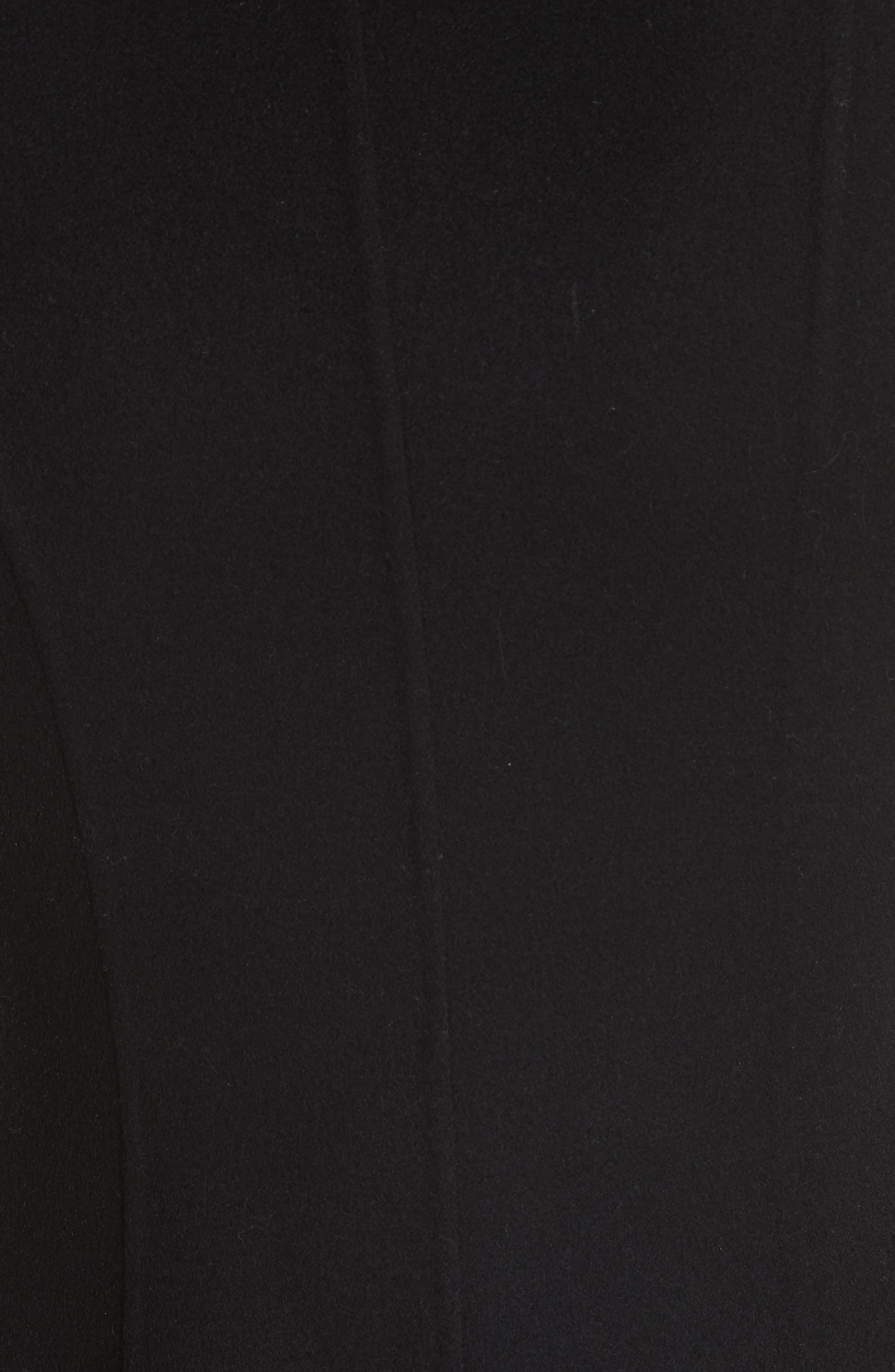 Compact Double Face Wool Peplum Coat,                             Alternate thumbnail 5, color,                             Black