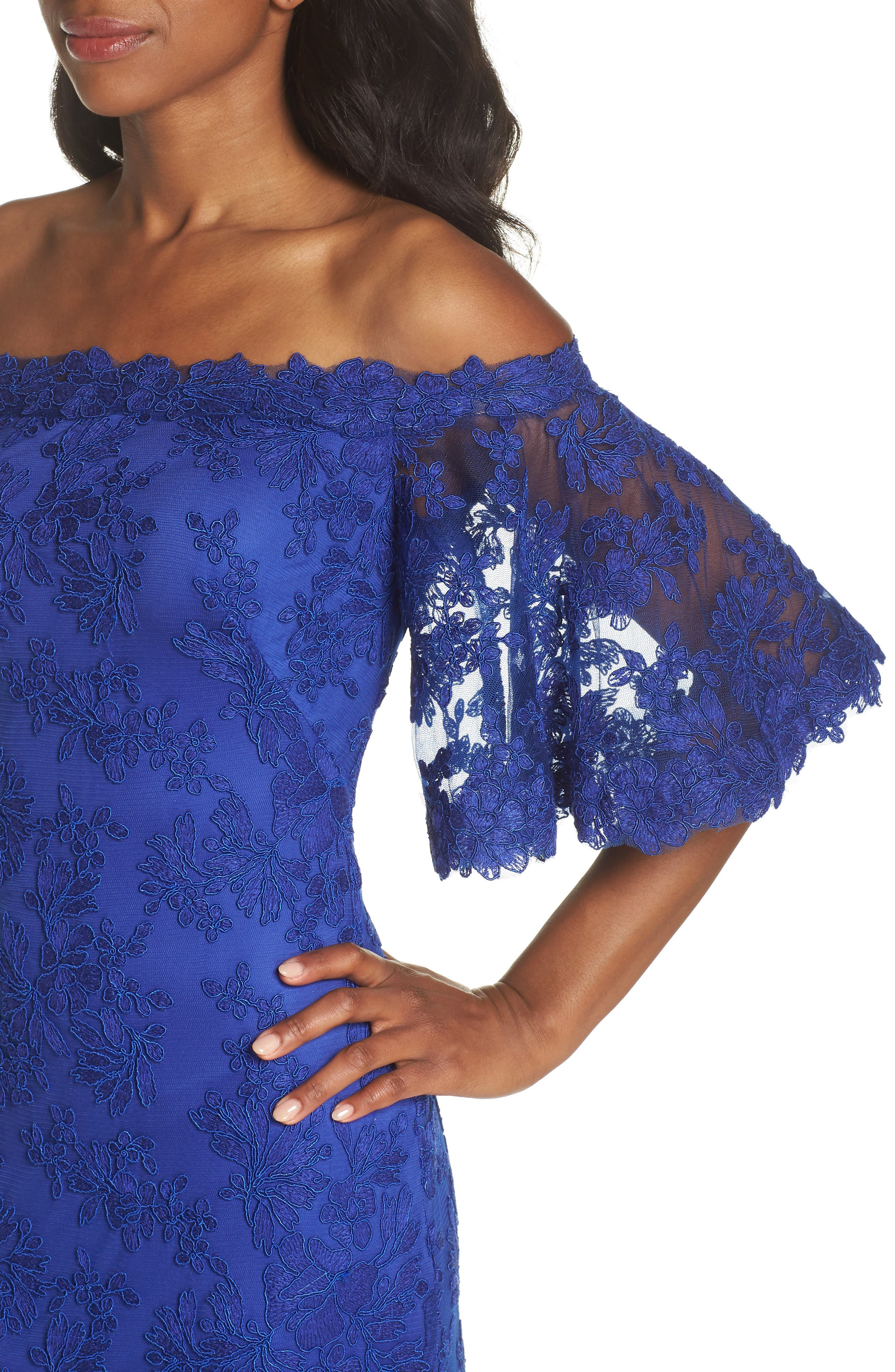 Off the Shoulder Lace Gown,                             Alternate thumbnail 4, color,                             Royal Iris
