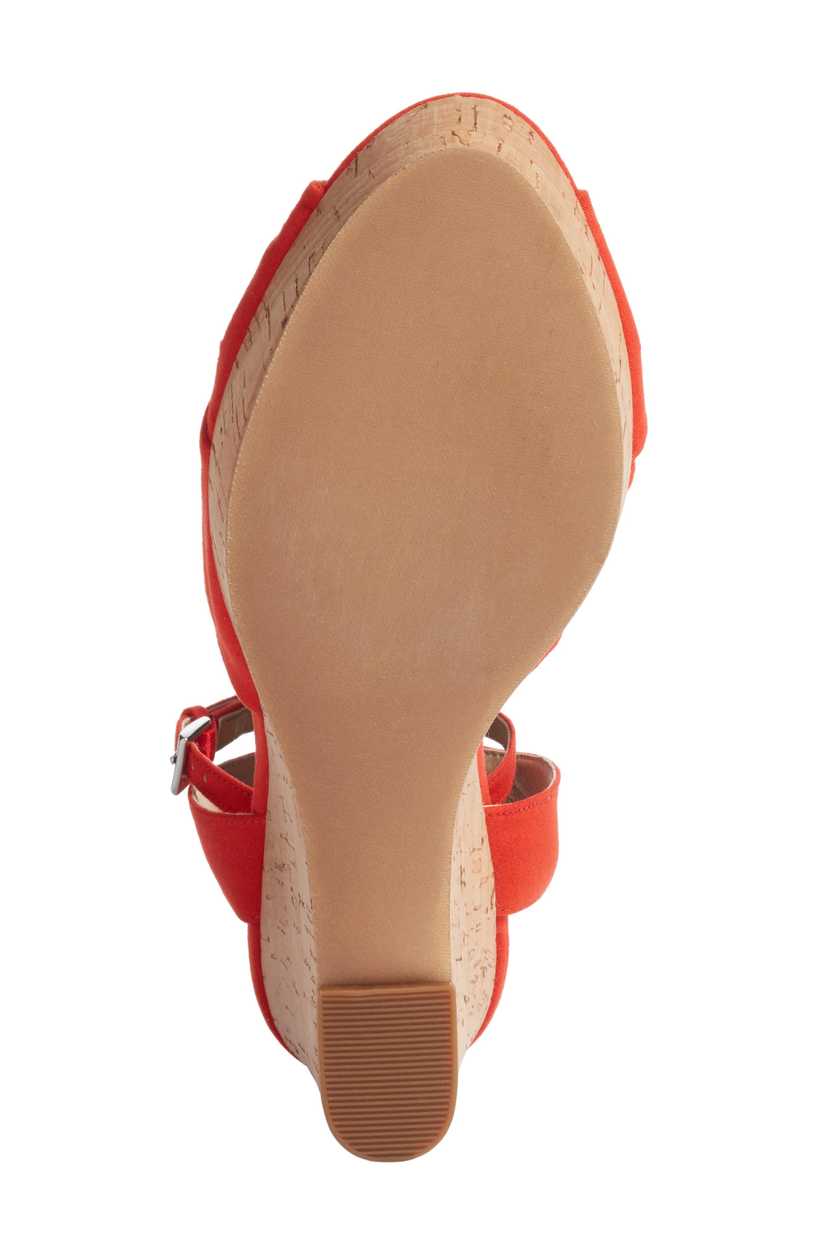 Arya Platform Wedge Sandal,                             Alternate thumbnail 6, color,                             Poppy Faux Suede