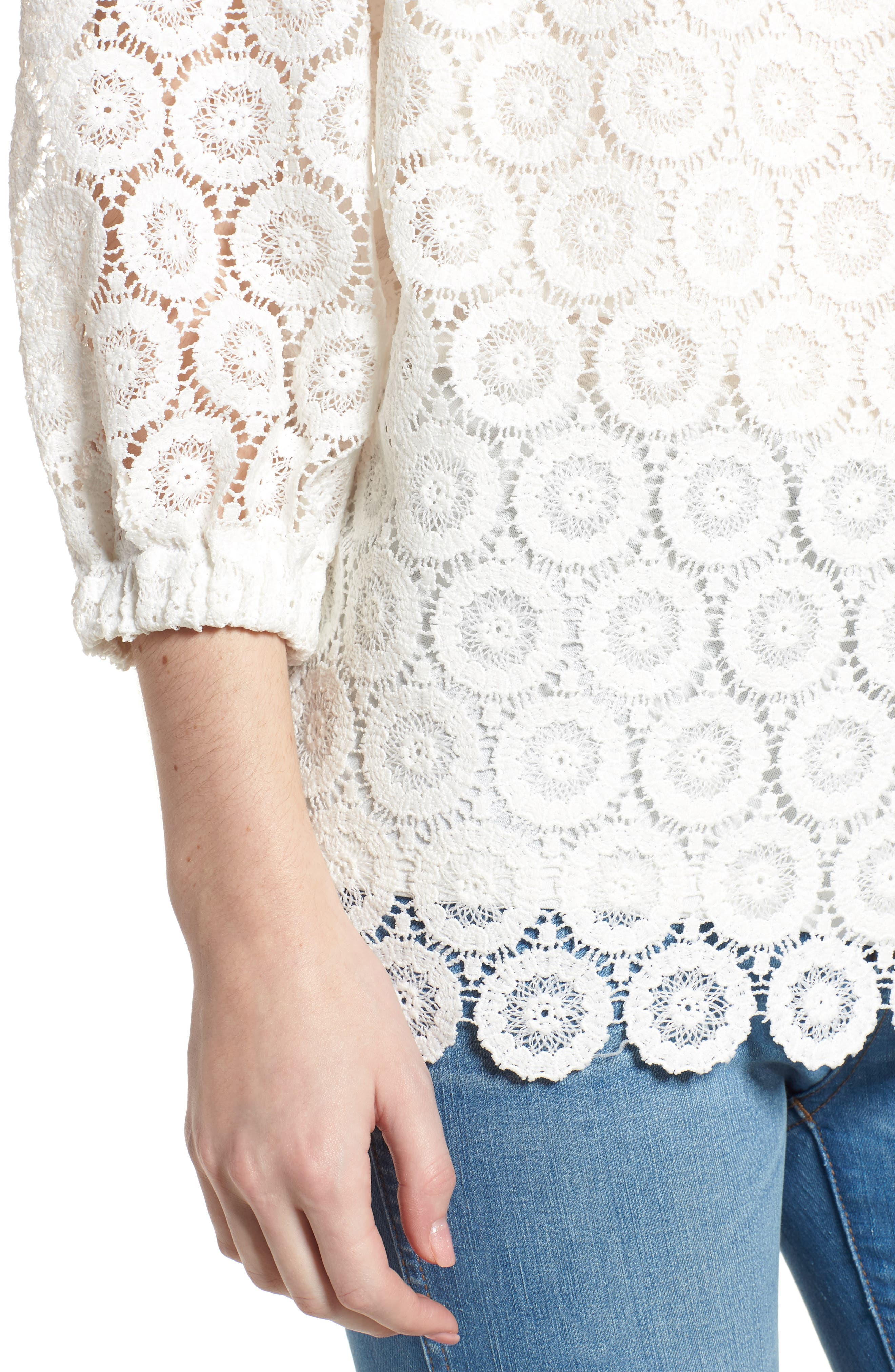 Bishop + Young Karlee Lace Off the Shoulder Top,                             Alternate thumbnail 4, color,                             White