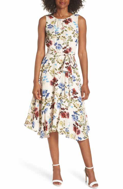 Gabby Skye Floral Crepe Midi Dress