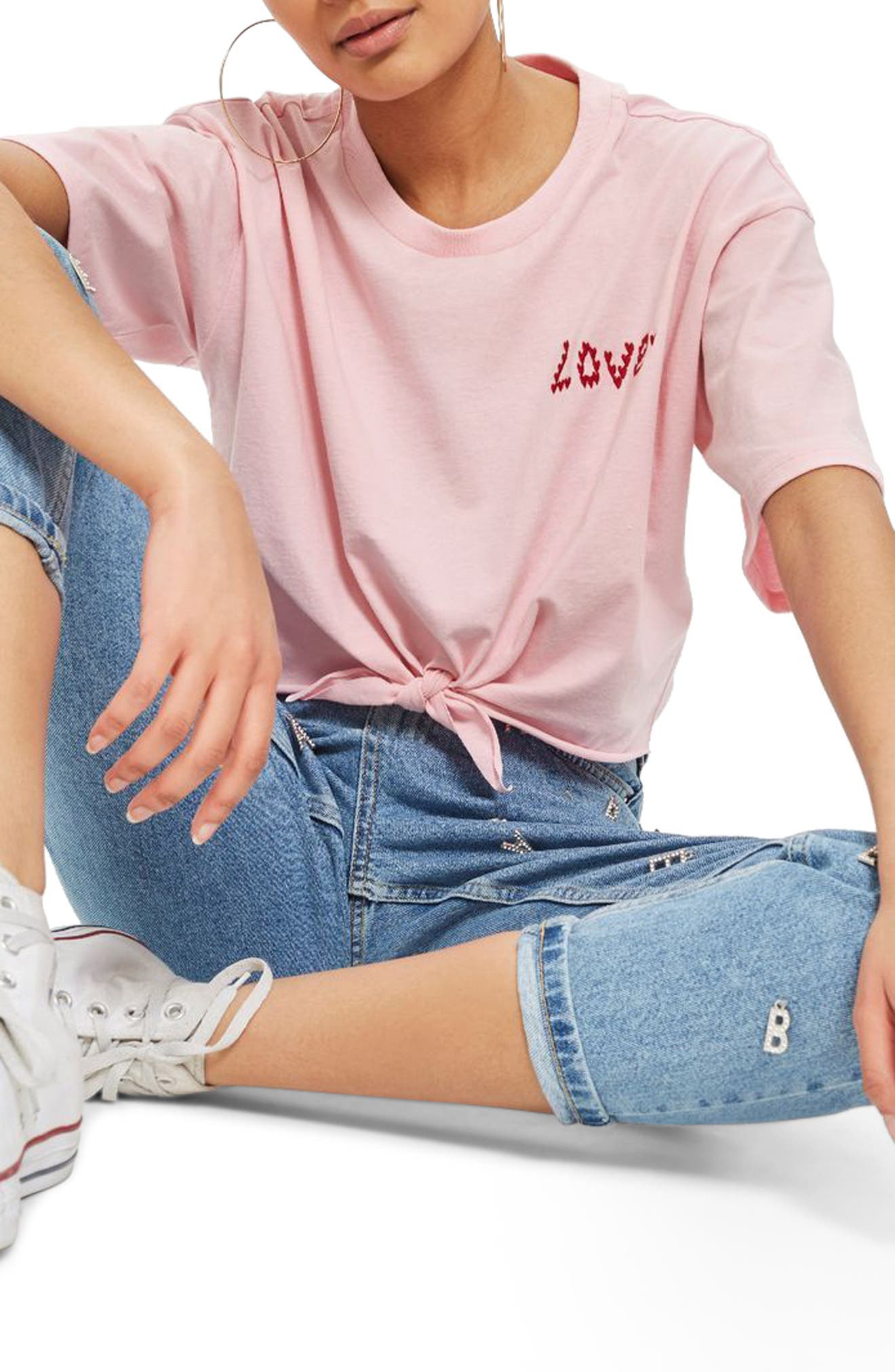 Knot Front Love T-Shirt,                             Main thumbnail 1, color,                             Pink