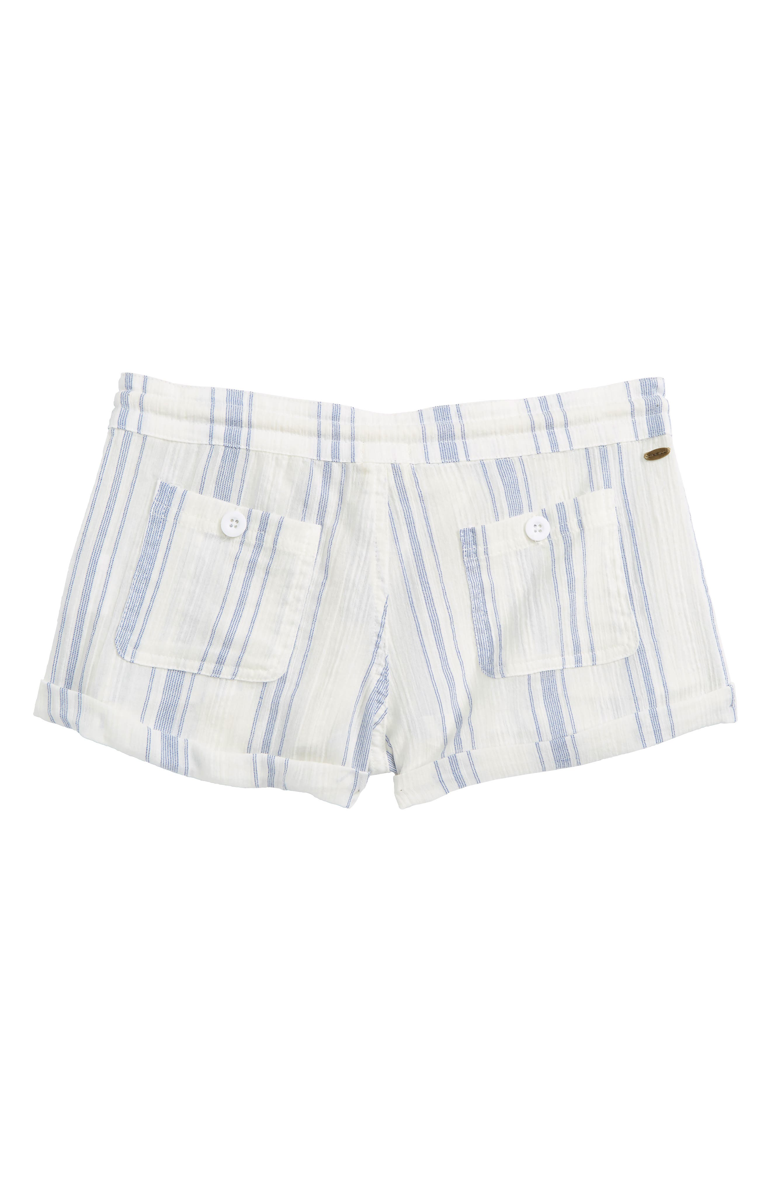 Krissy Stripe Cotton Shorts,                             Alternate thumbnail 2, color,                             White