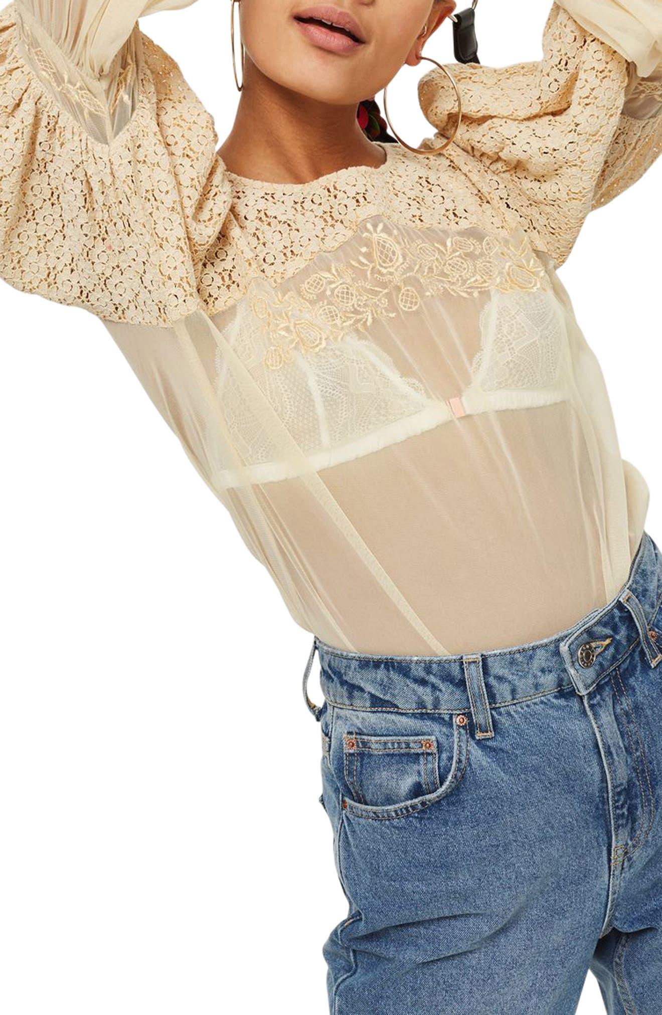 Lace Blouson Top,                         Main,                         color, Cream