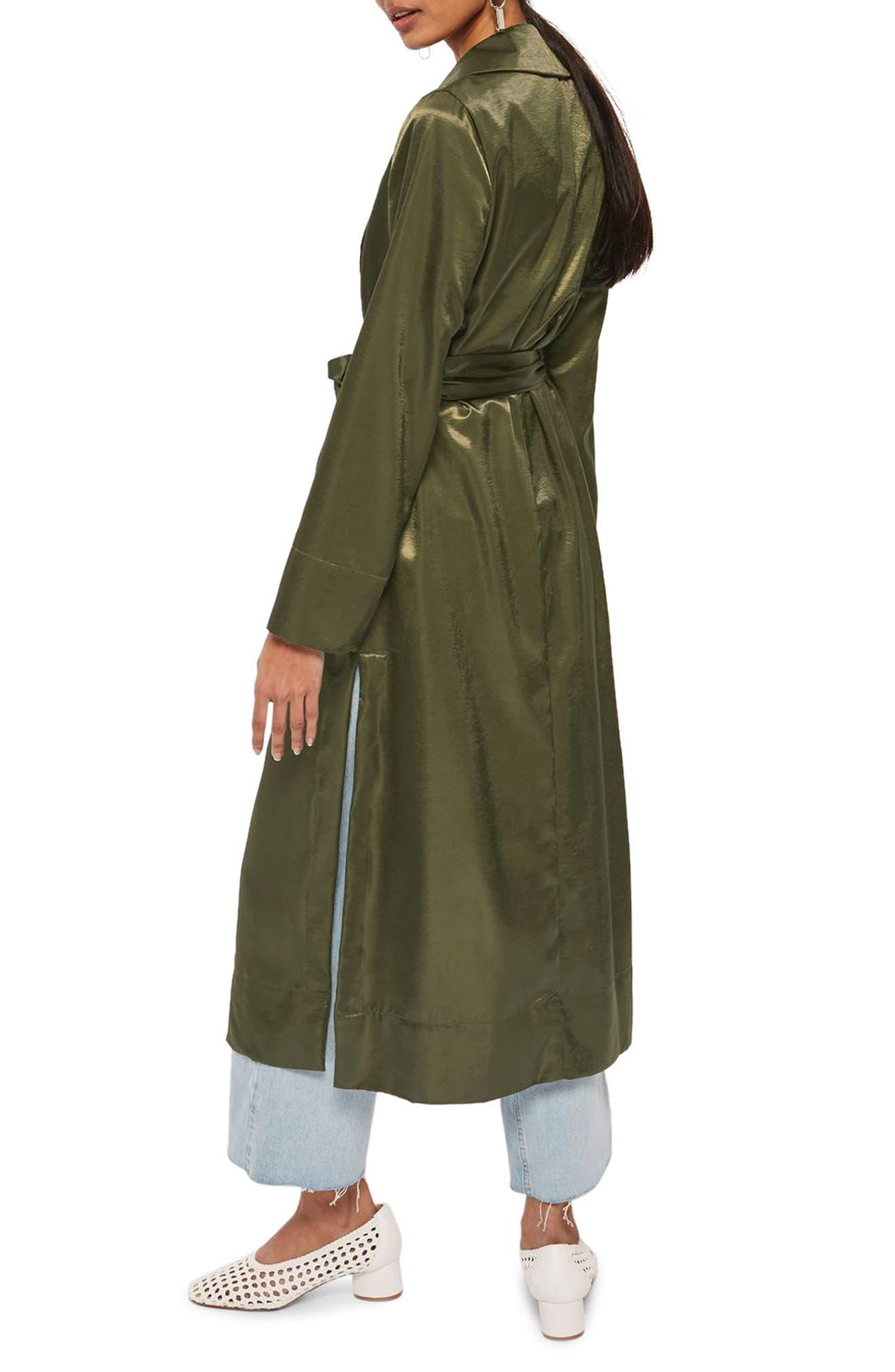 Belted Satin Duster Coat,                             Alternate thumbnail 2, color,                             Olive