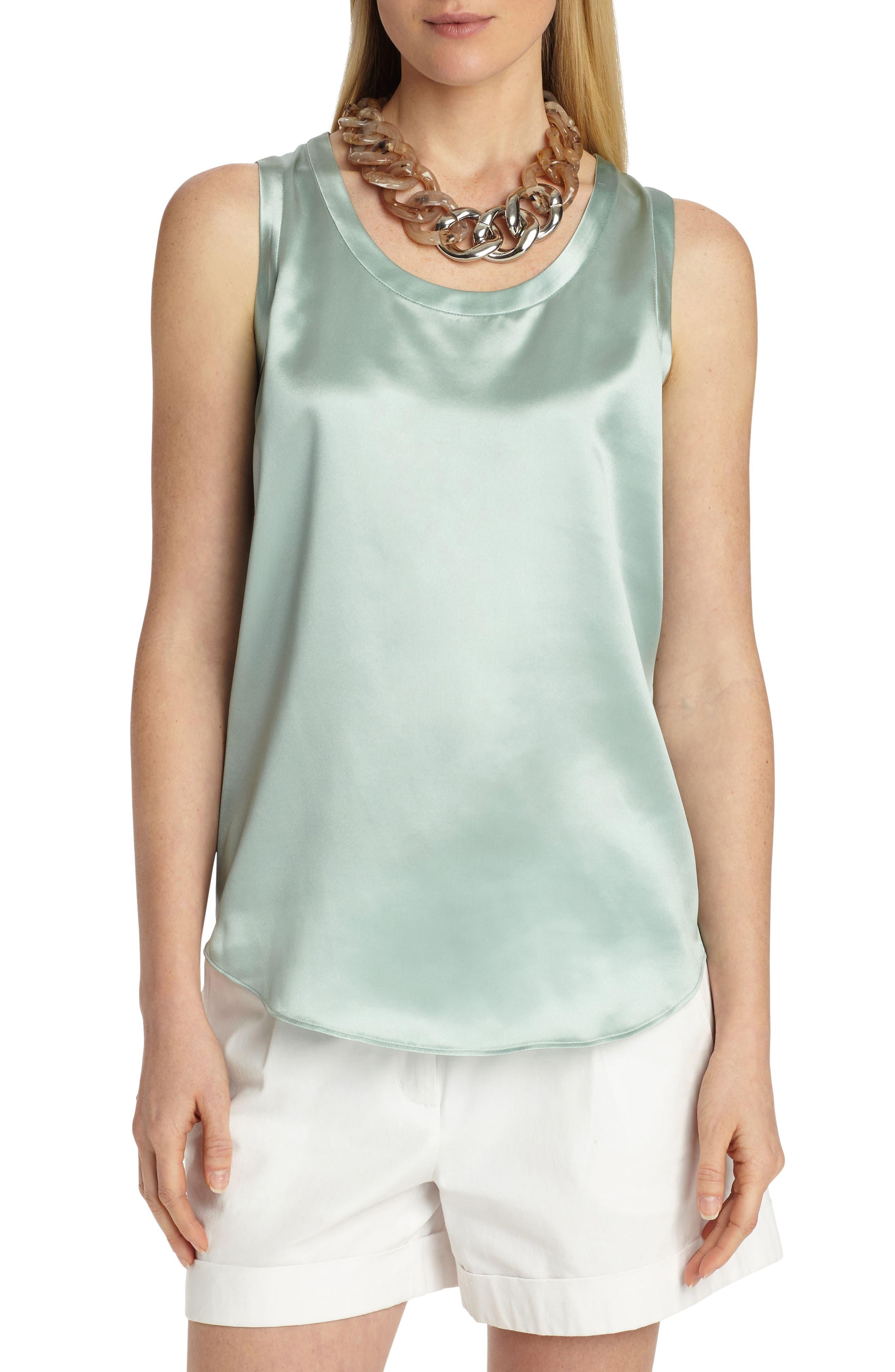 Perla Reversible Silk Blouse,                         Main,                         color, Herbal Mist