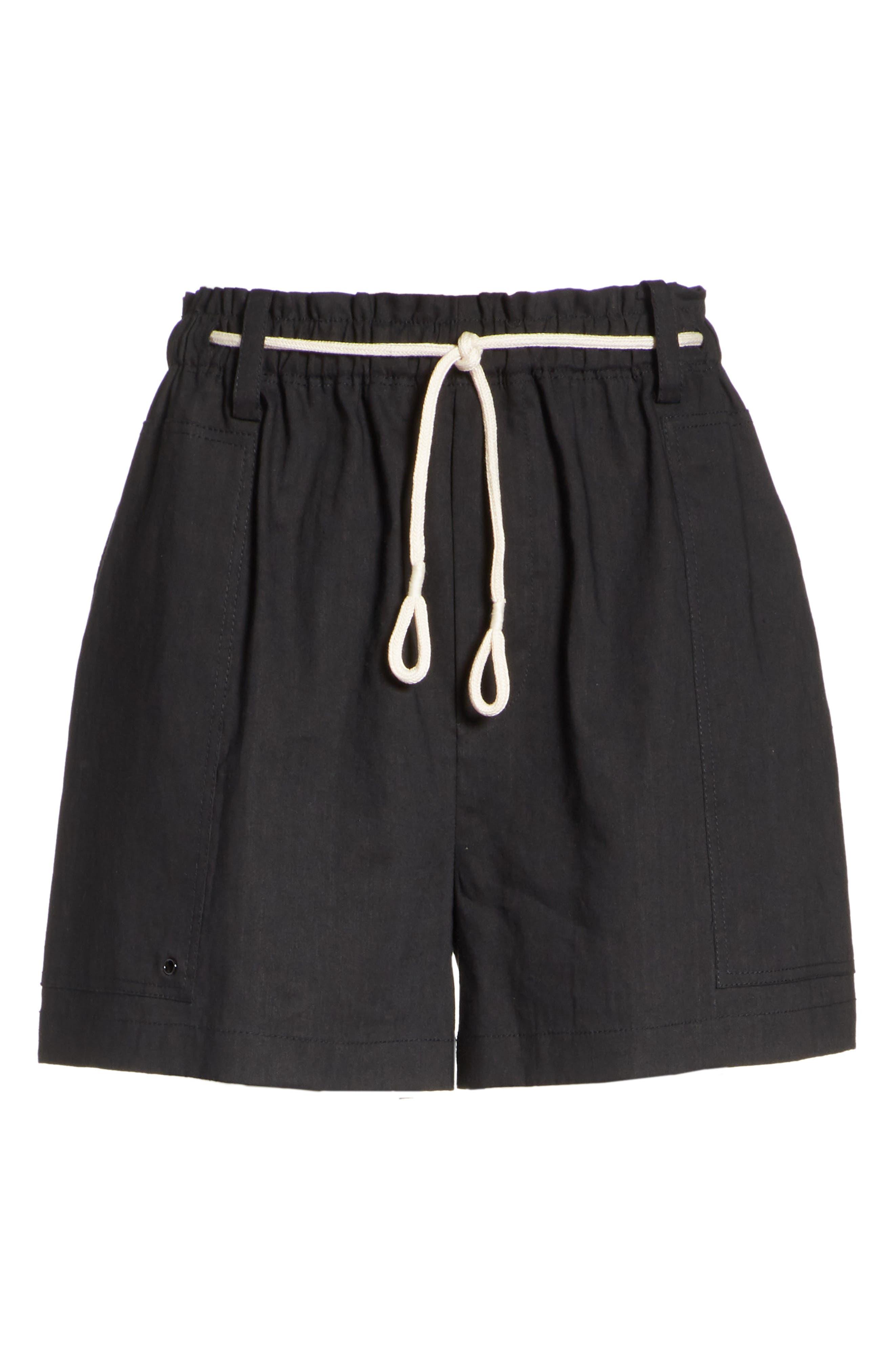 Rope Tie Linen Blend Shorts,                             Alternate thumbnail 6, color,                             Black