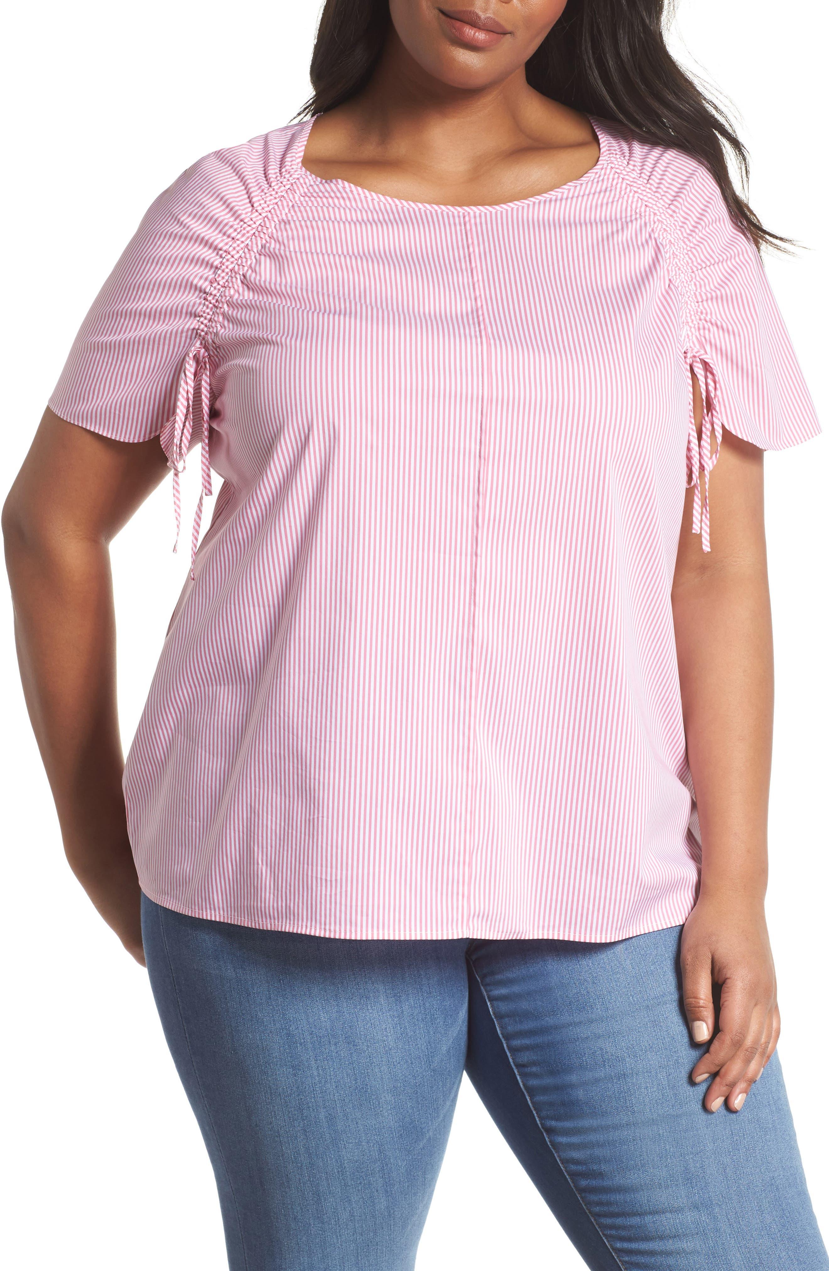Sejour Raglan Sleeve Poplin Top (Plus Size)
