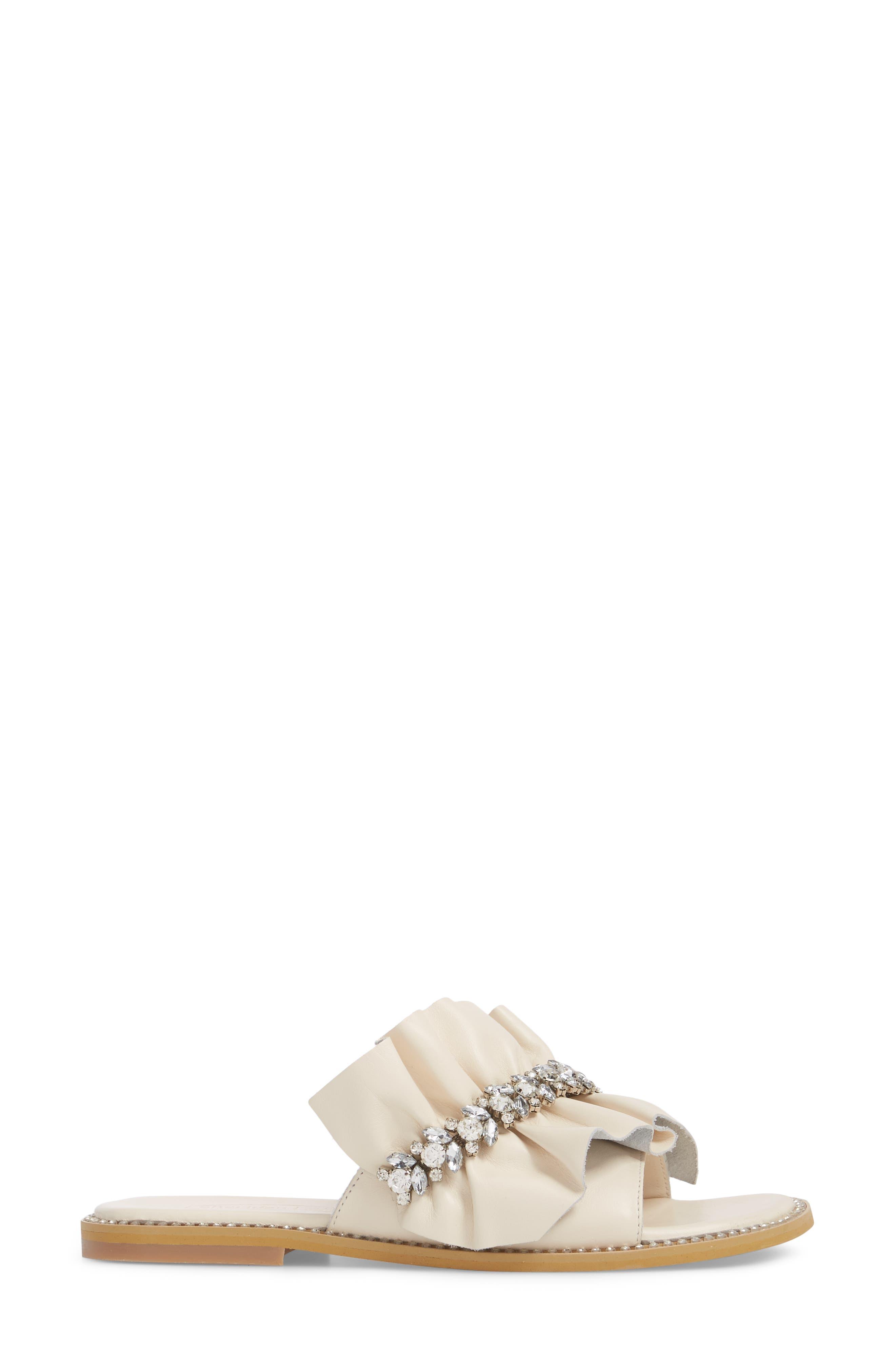 Tiana Crystal Slide Sandal,                             Alternate thumbnail 3, color,                             Cream Leather