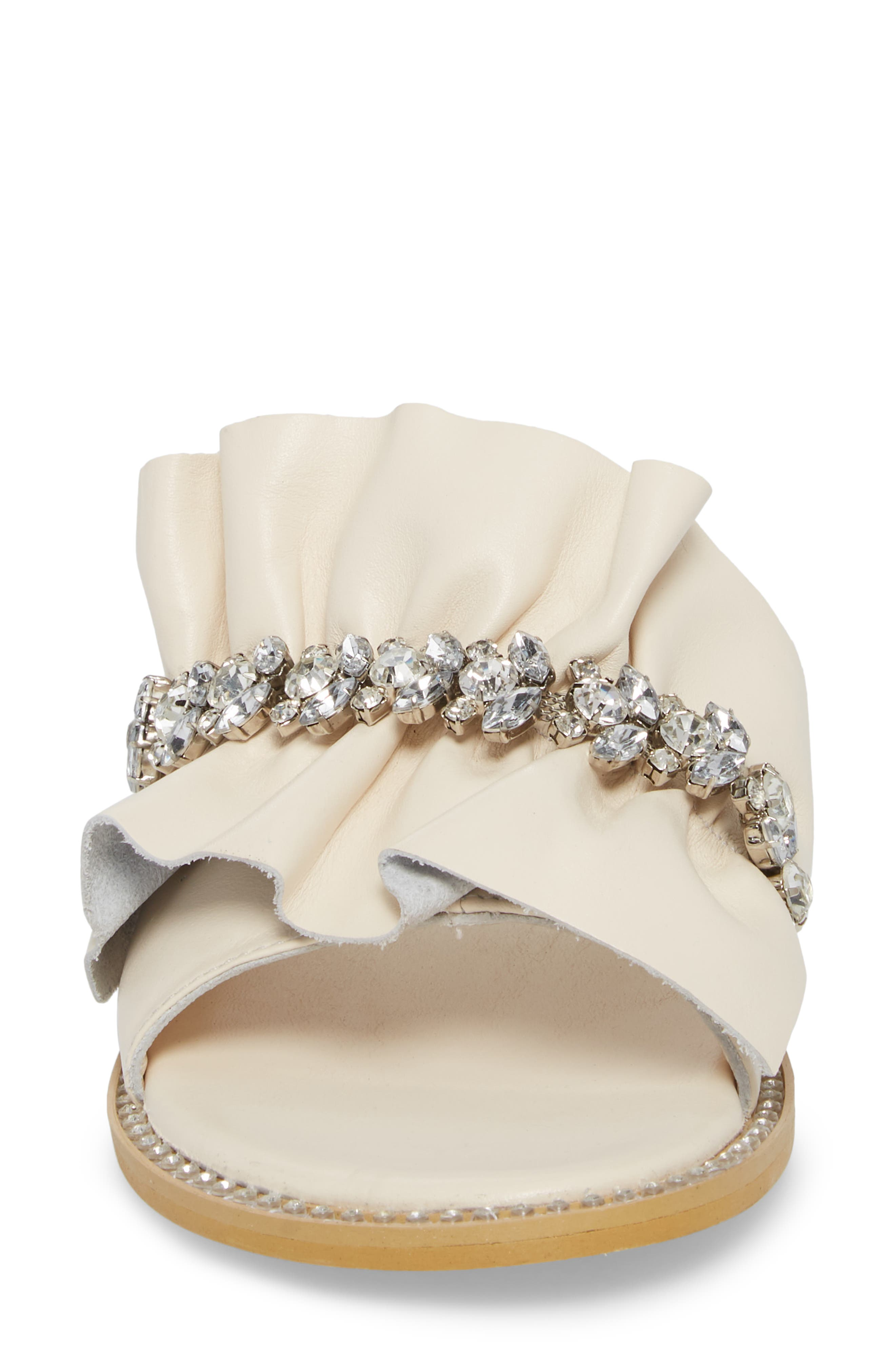 Tiana Crystal Slide Sandal,                             Alternate thumbnail 4, color,                             Cream Leather
