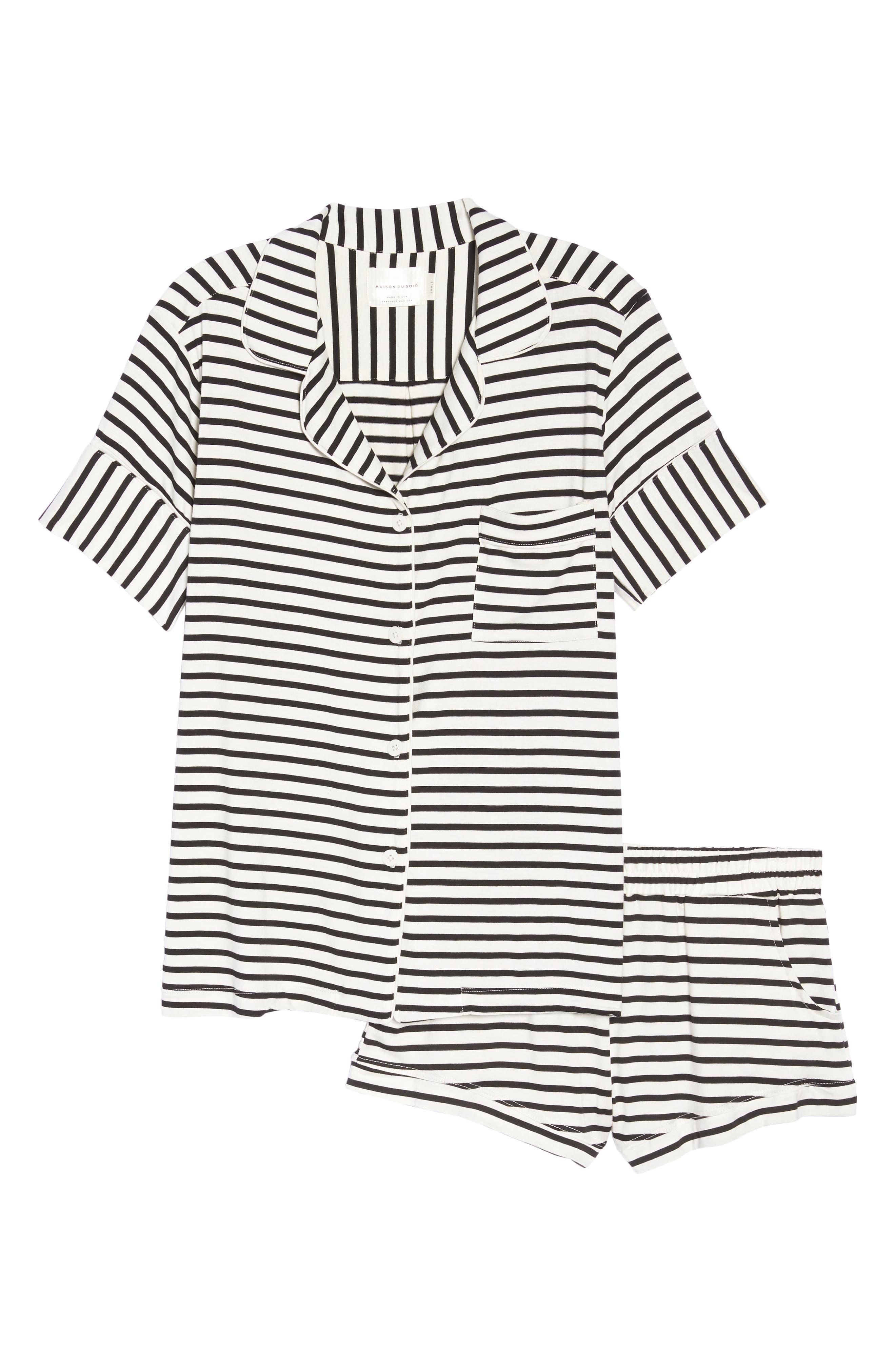 Monaco Short Pajamas,                             Alternate thumbnail 6, color,                             Pearl Stripe