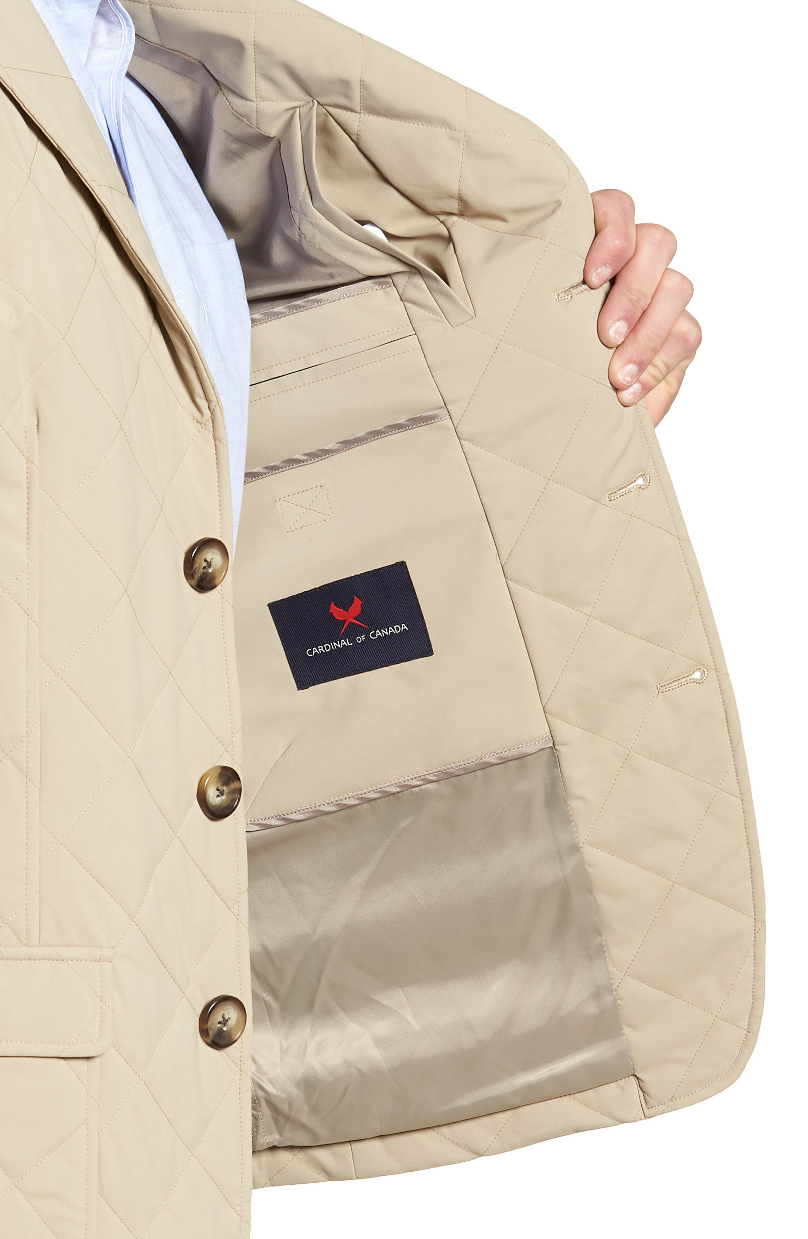 Classic Fit Quilted Blazer,                             Alternate thumbnail 4, color,                             Tan