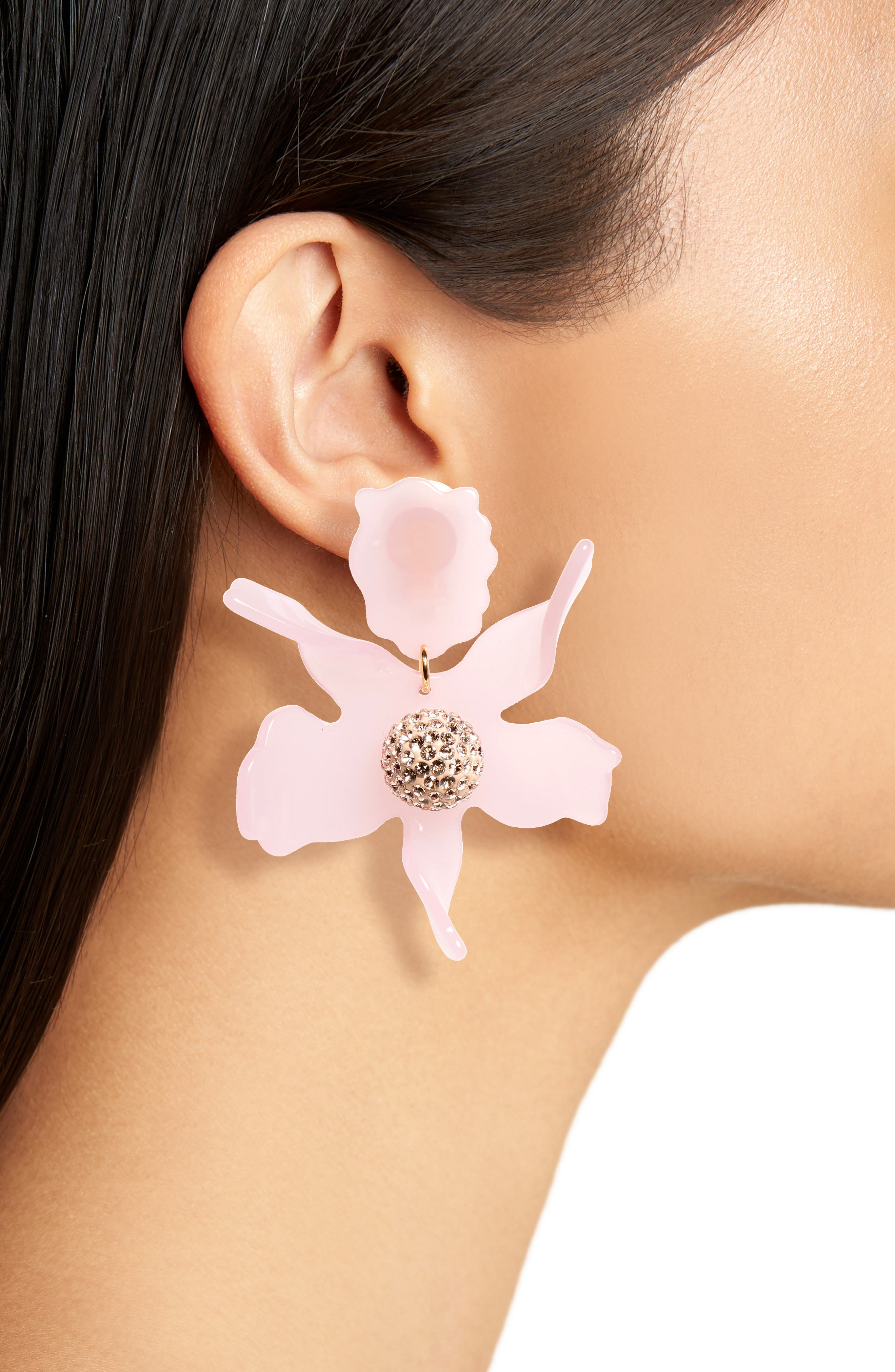 Crystal Lily Clip Earrings,                             Alternate thumbnail 2, color,                             Rose Hip