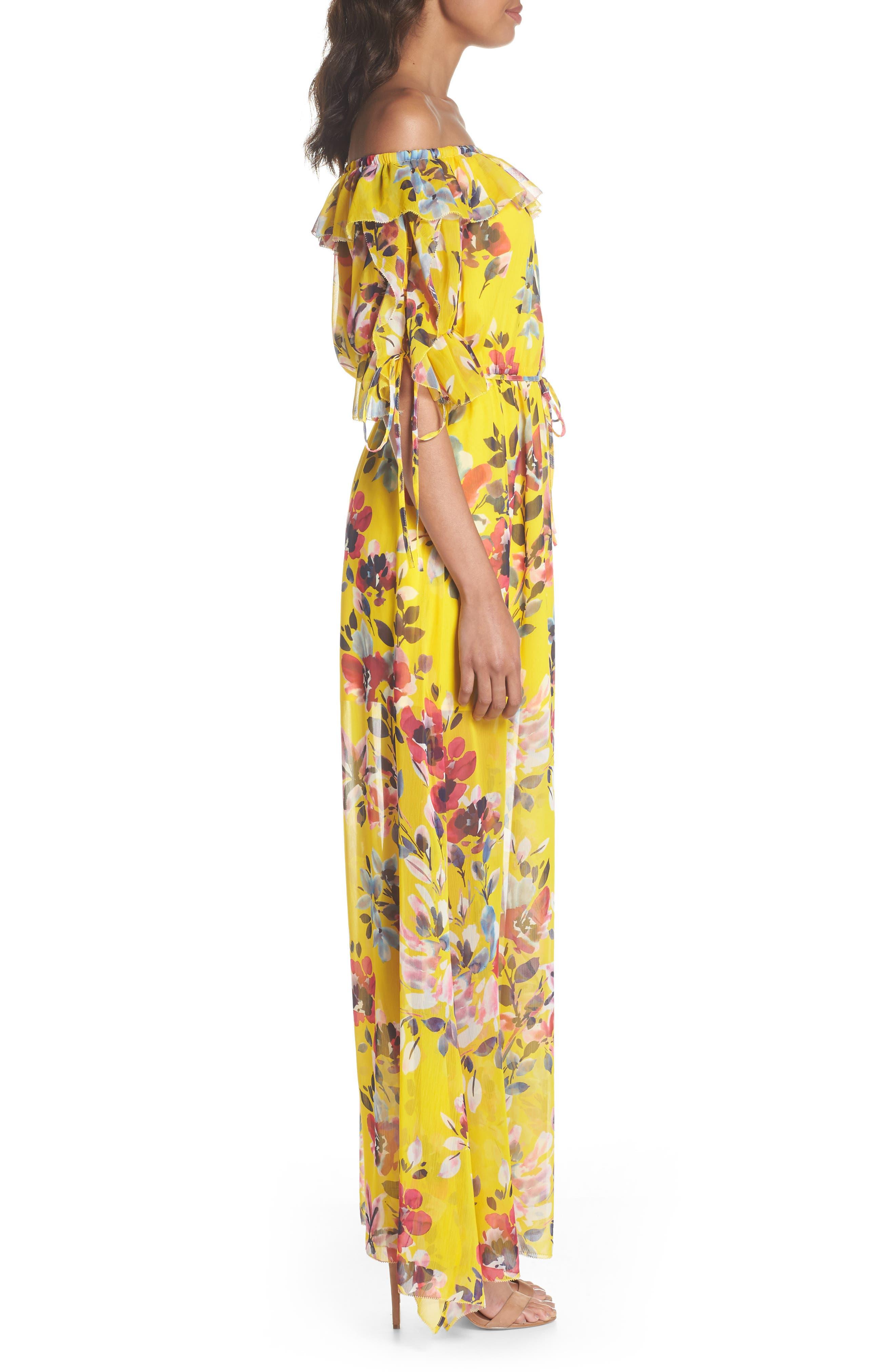 Linosa Crinkle Maxi Dress,                             Alternate thumbnail 3, color,                             Citrus