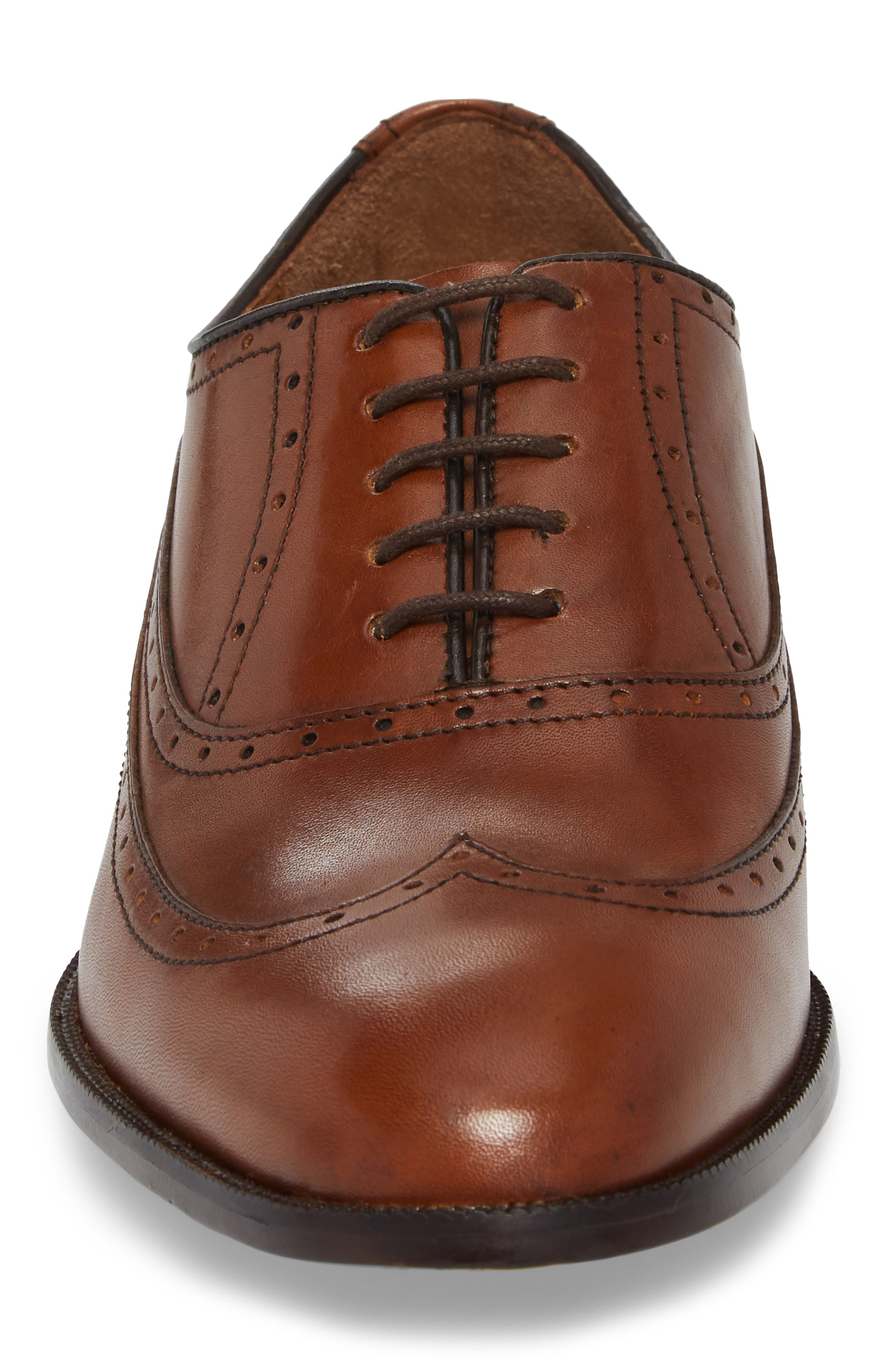 Bradford Wingtip Oxford,                             Alternate thumbnail 4, color,                             Tan Leather