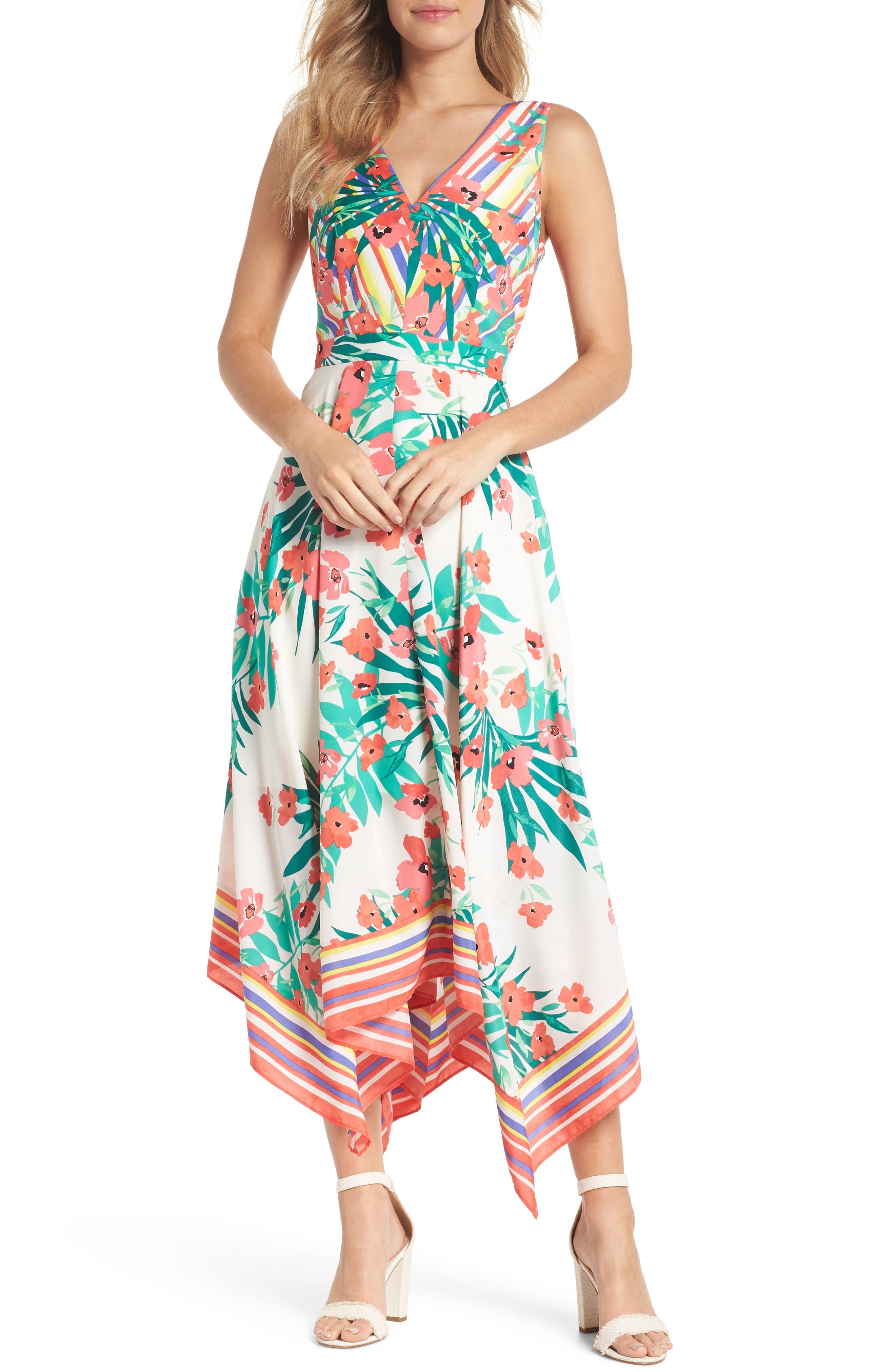 Print Handkerchief Hem Dress,                         Main,                         color, Ivory Multi