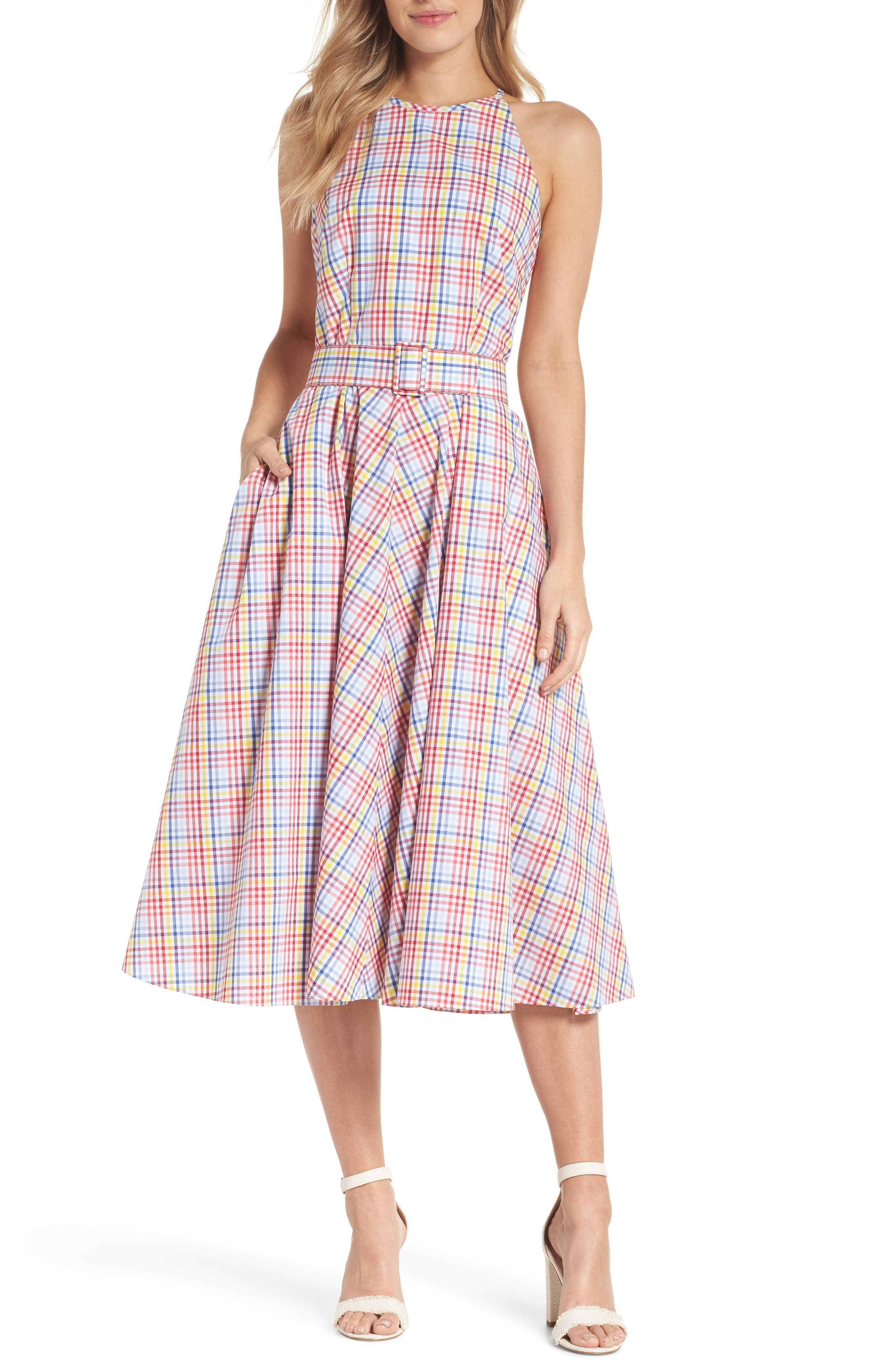 Halter Neck Belted Cotton Sundress,                             Main thumbnail 1, color,                             Red/ Yellow