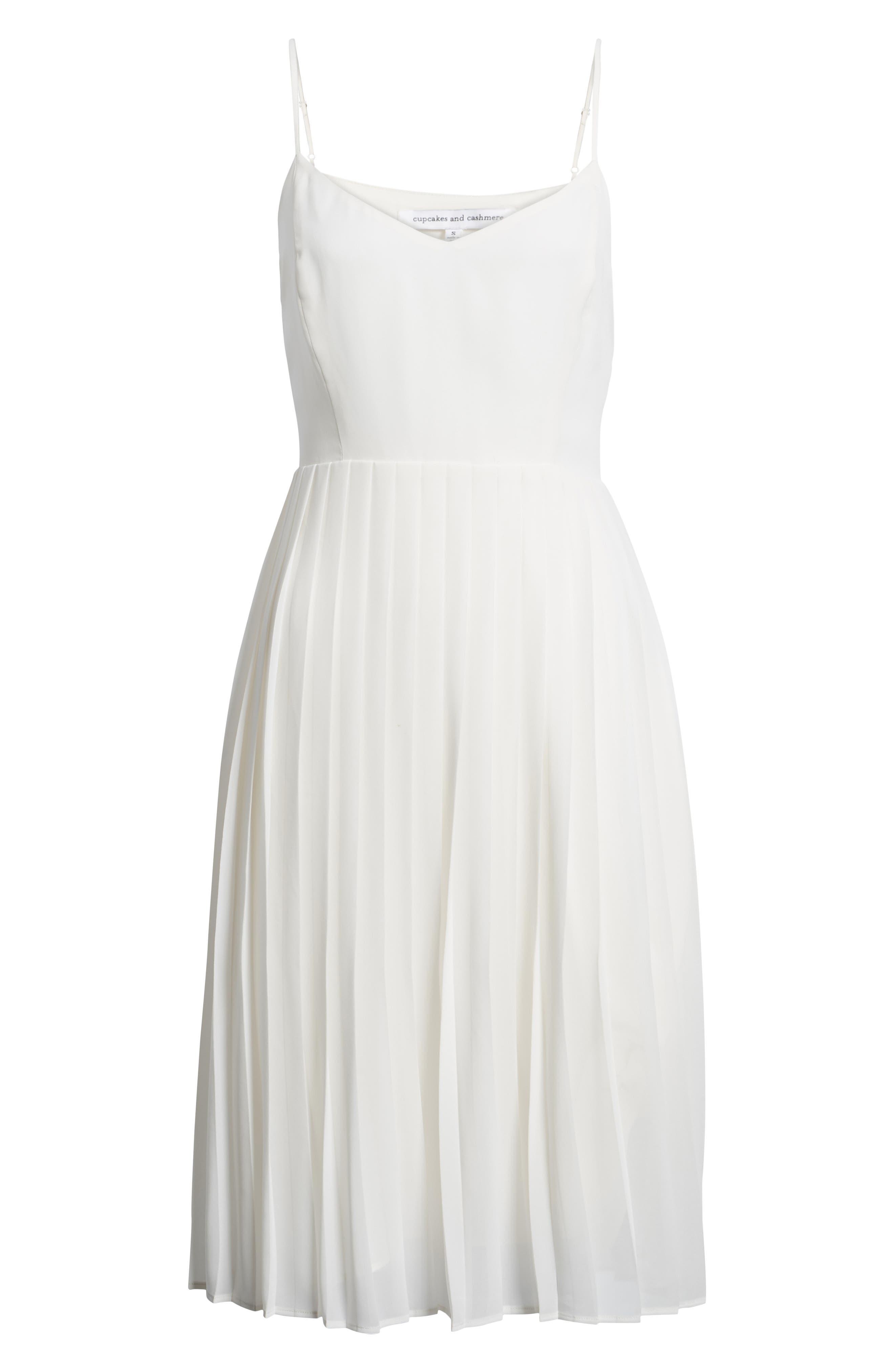 Deena Pleated Dress,                             Alternate thumbnail 7, color,                             Ivory