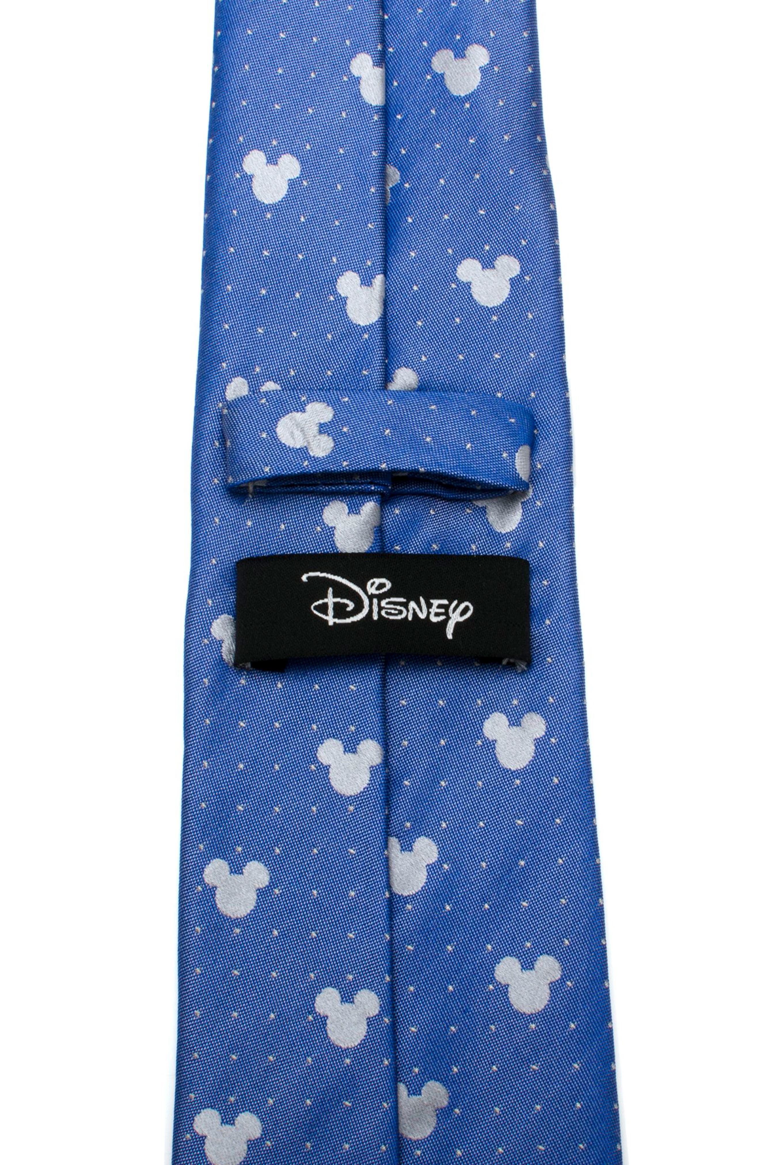 Mickey Mouse Pin Dot Silk Tie,                             Alternate thumbnail 4, color,                             Blue/ Grey