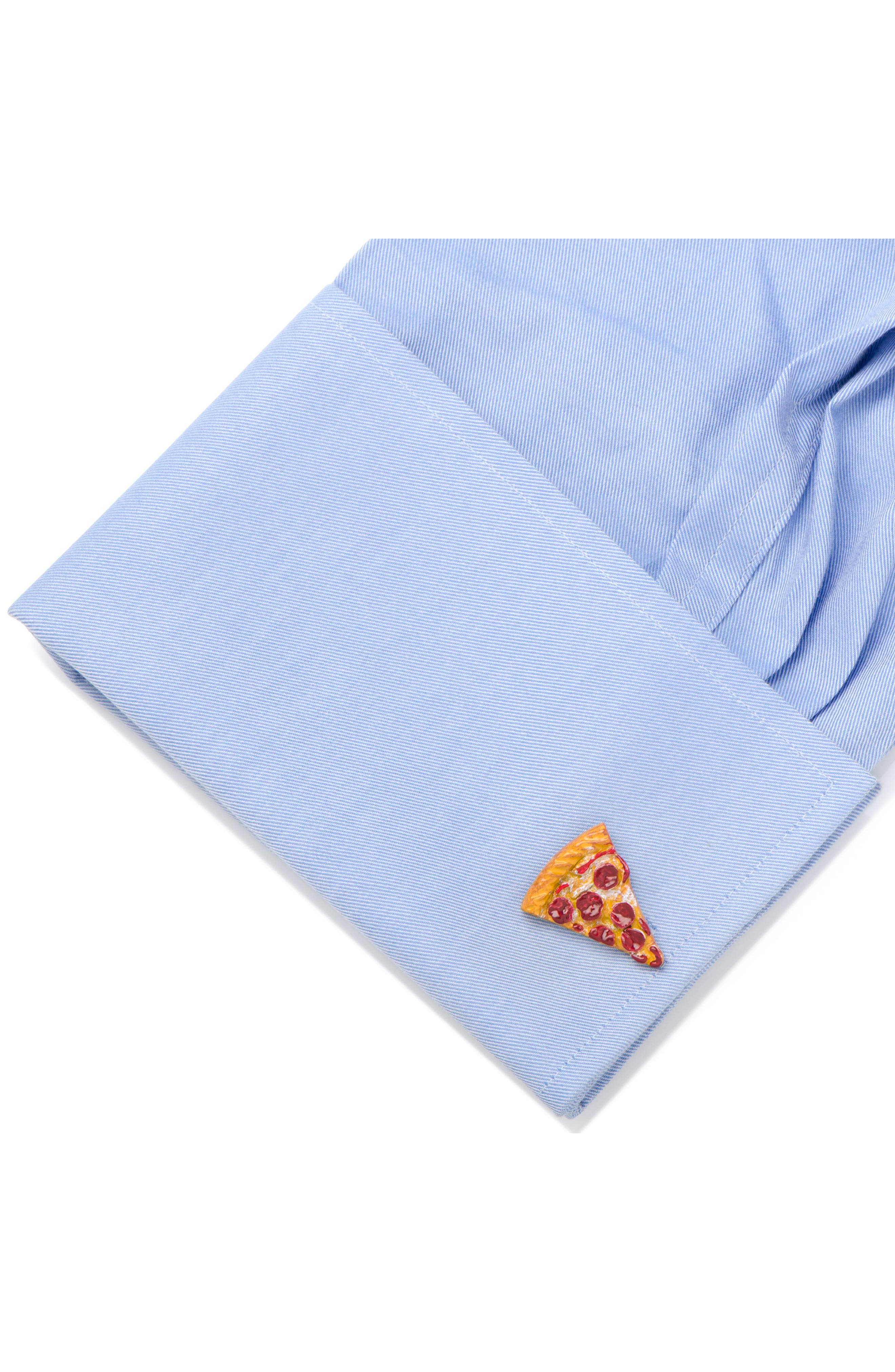 3D Pizza Slice Cuff Links,                             Alternate thumbnail 3, color,                             Red