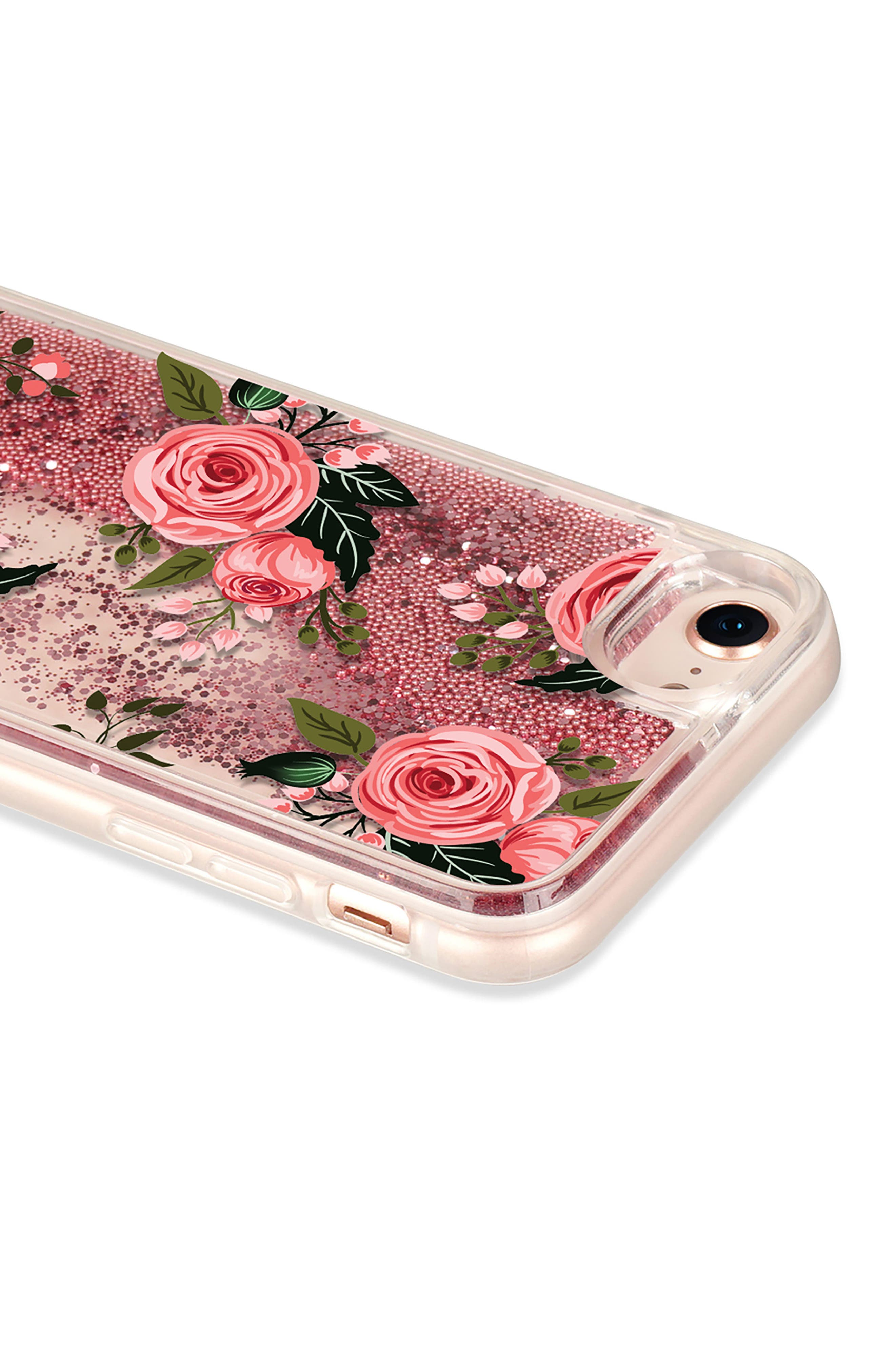 Pink Glitter Flowers iPhone 7/8 & 7/8 Plus Case,                             Alternate thumbnail 4, color,                             Pink