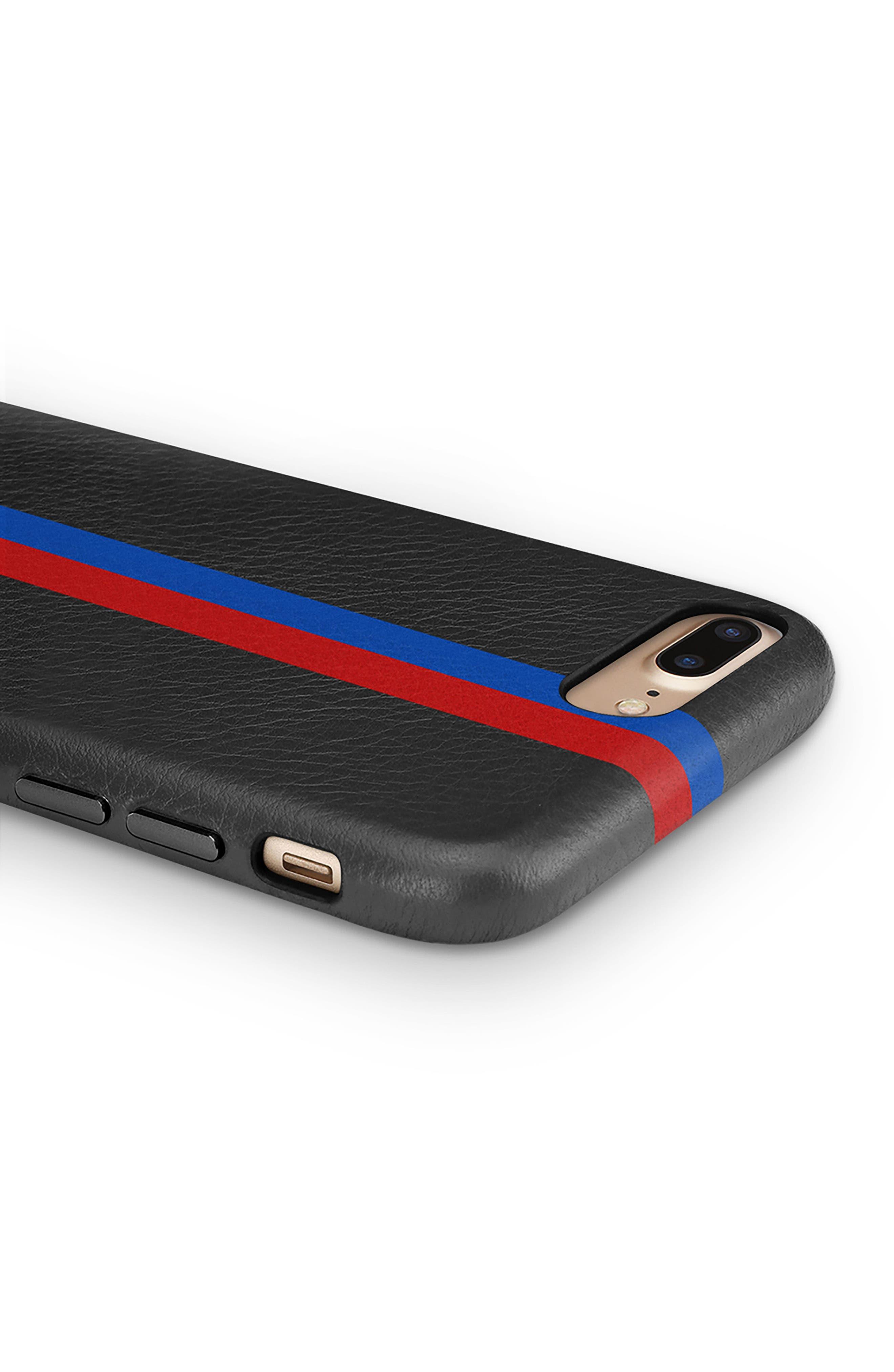 x Clare V. Stripe Leather iPhone X Case,                             Alternate thumbnail 4, color,                             Black Multi