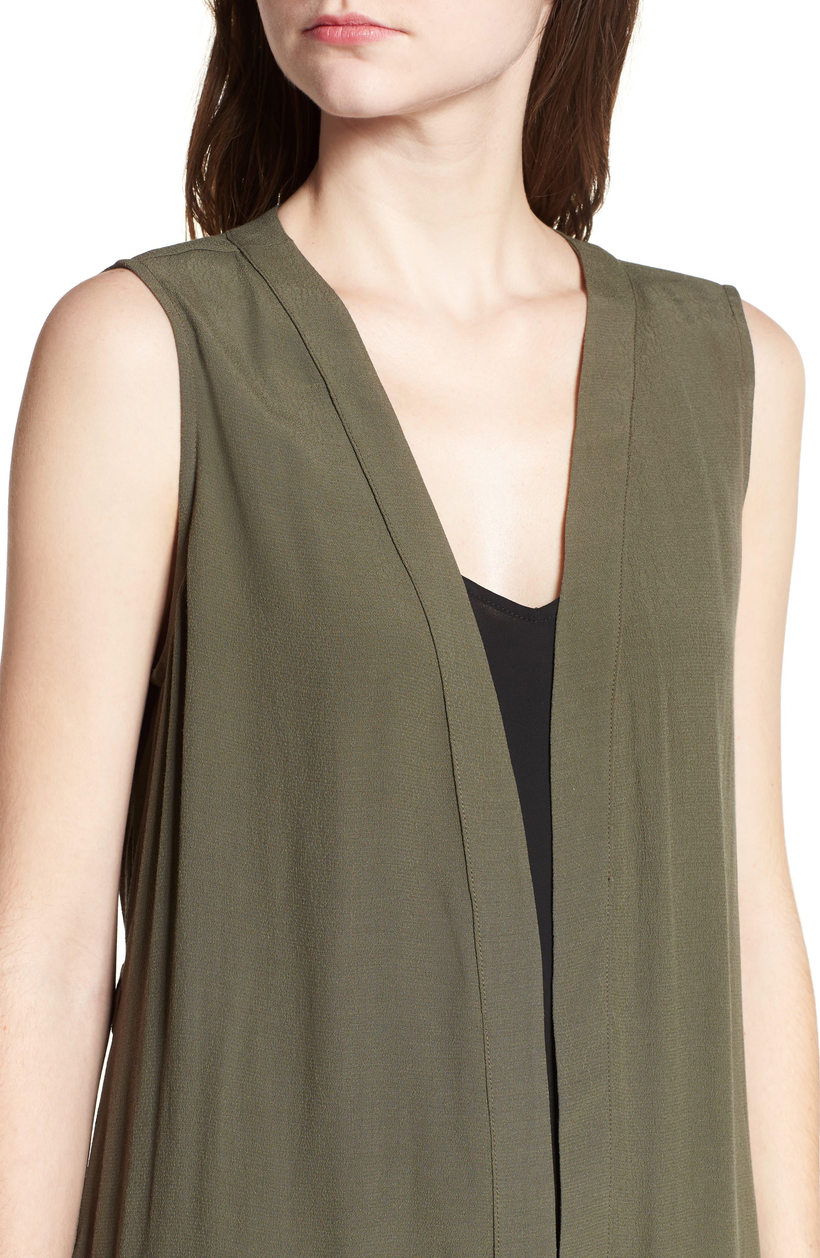 Ruched Back Vest,                             Alternate thumbnail 4, color,                             Olive Sarma