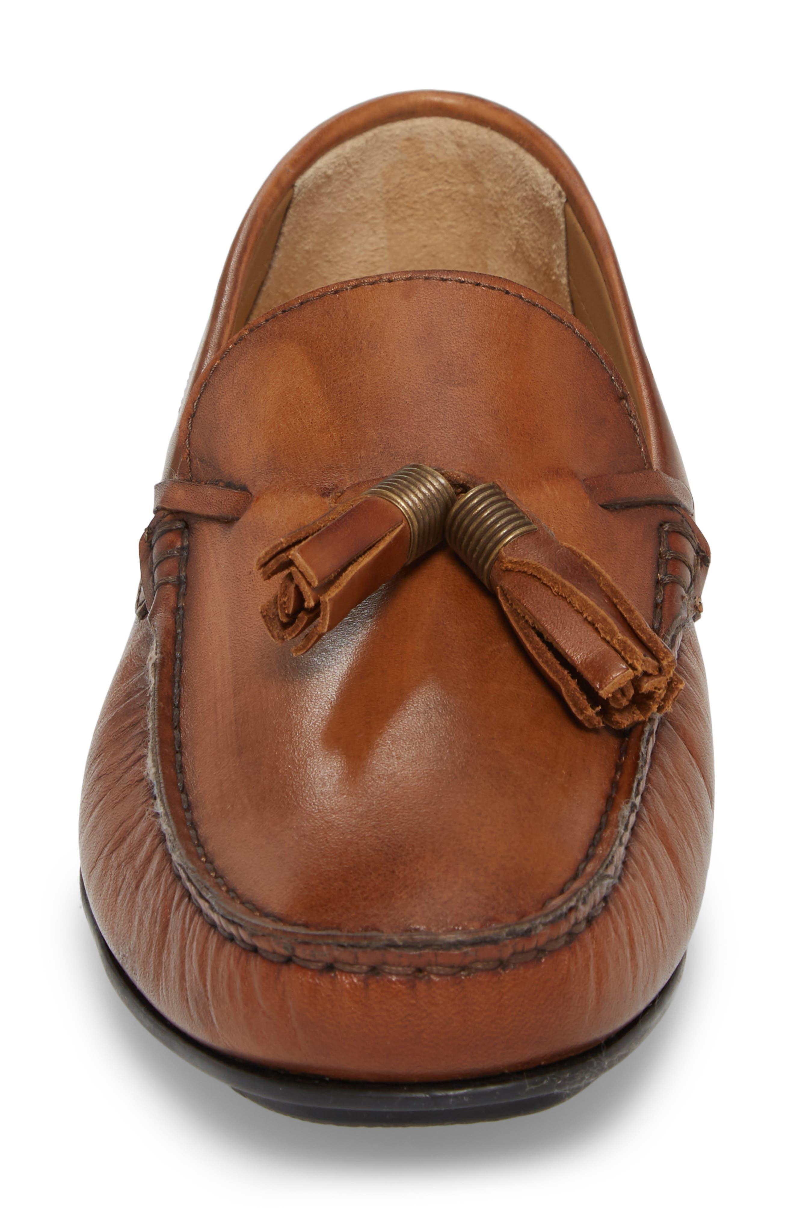 Randall Tassel Driving Moccasin,                             Alternate thumbnail 4, color,                             Cognac Leather