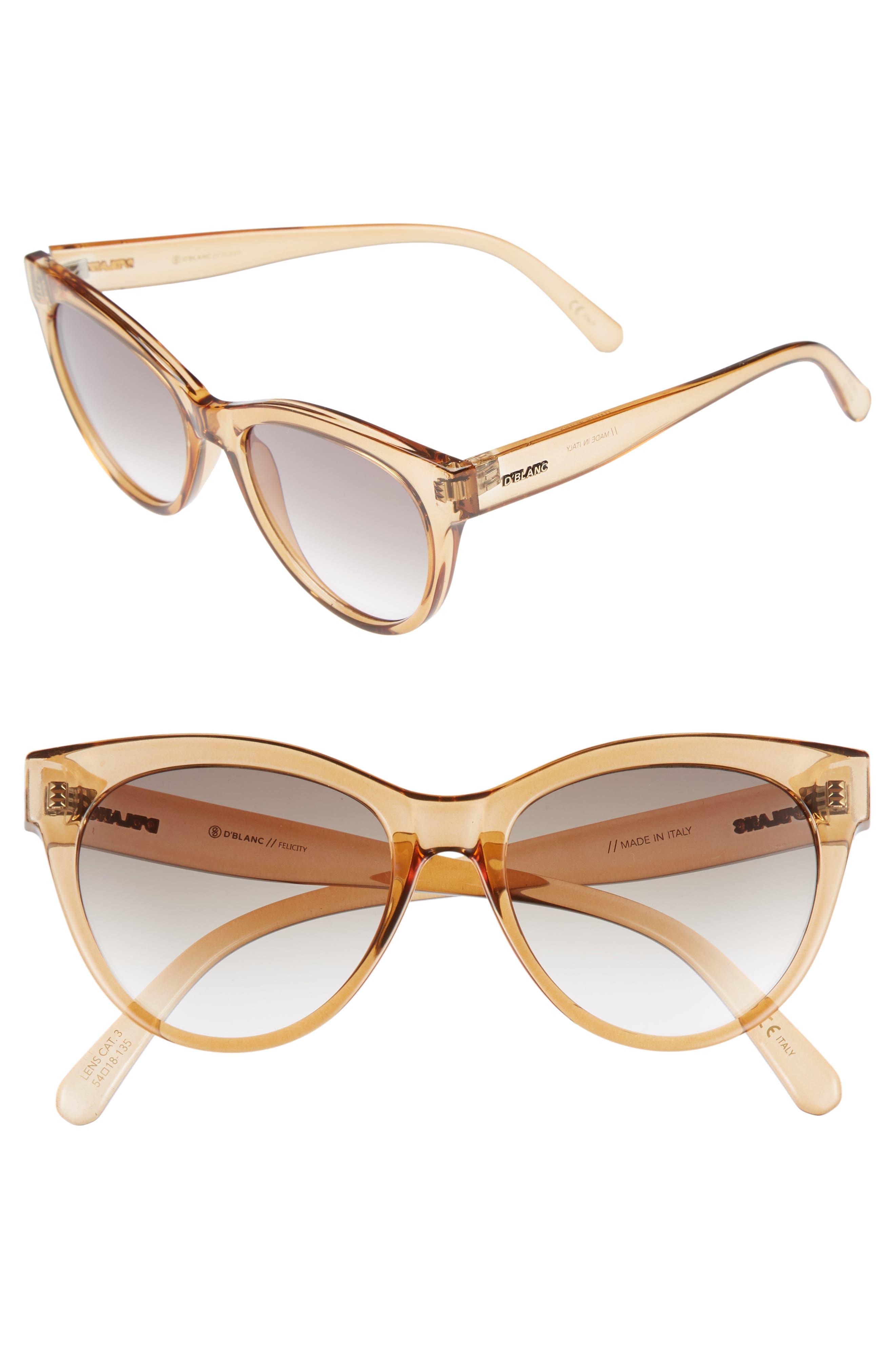 D'BLANC Felicity 54mm Cat Eye Sunglasses,                         Main,                         color, Chai Gloss