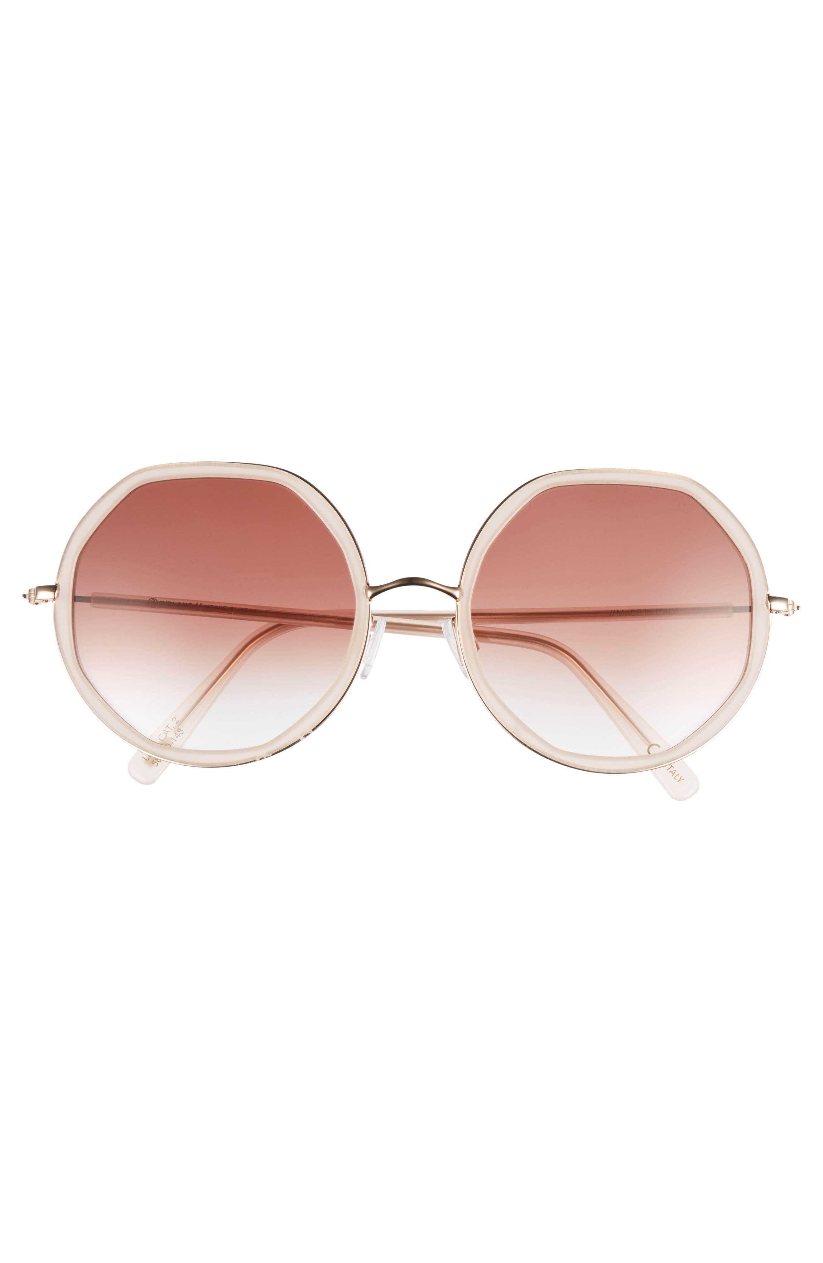 D'BLANC Sonic Bloom 58mm Sunglasses,                             Alternate thumbnail 3, color,                             Octagon Blush