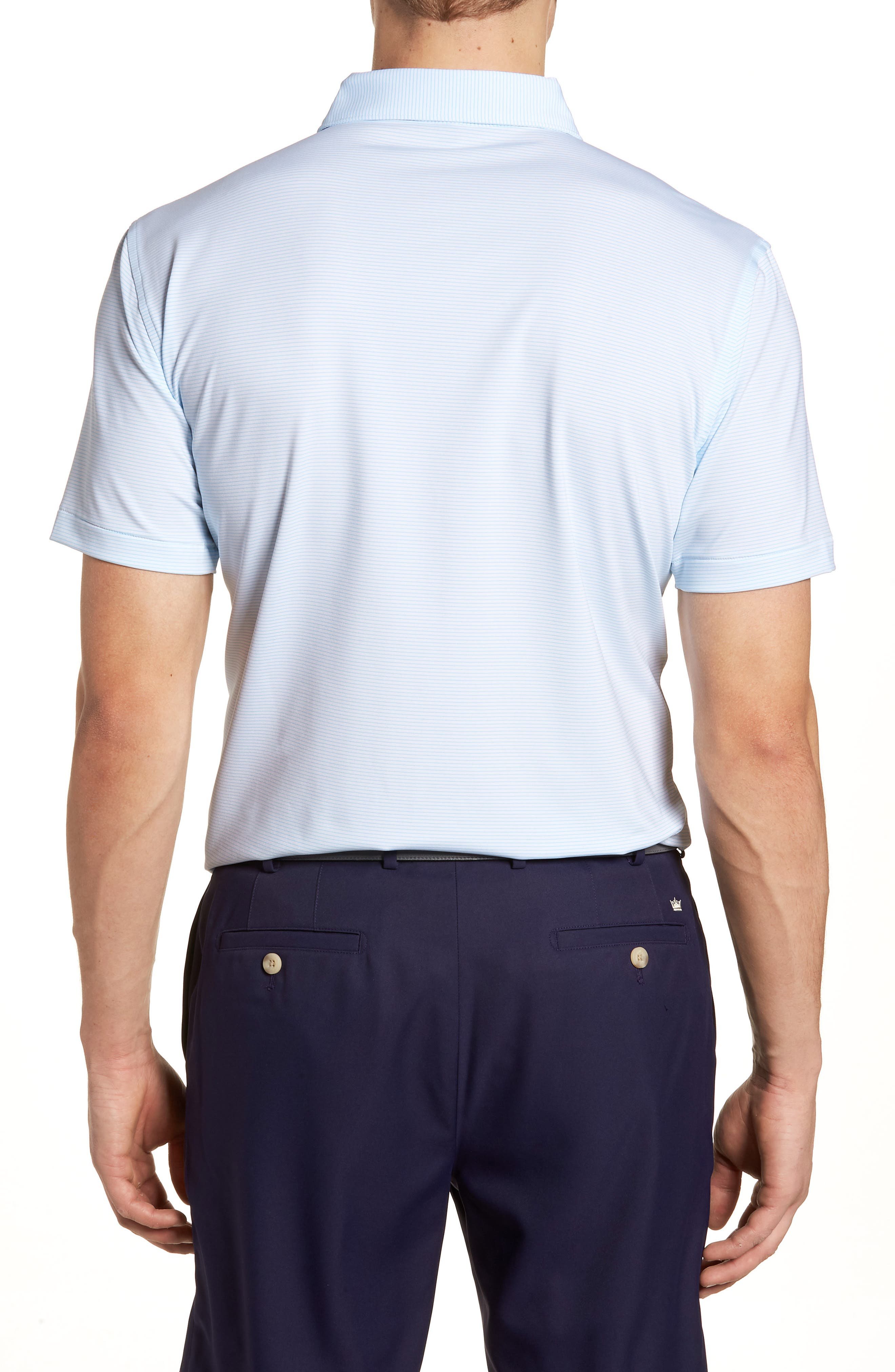 Halford Stripe Stretch Jersey Polo,                             Alternate thumbnail 2, color,                             White/ Grotto Blue